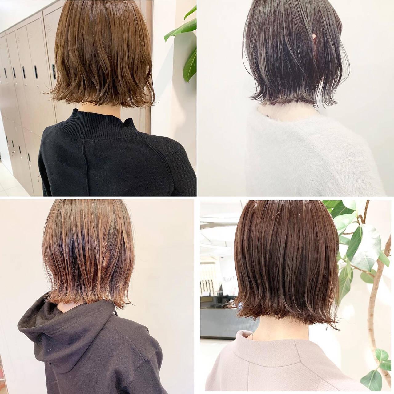 外ハネボブ ボブ インナーカラー 切りっぱなしボブヘアスタイルや髪型の写真・画像