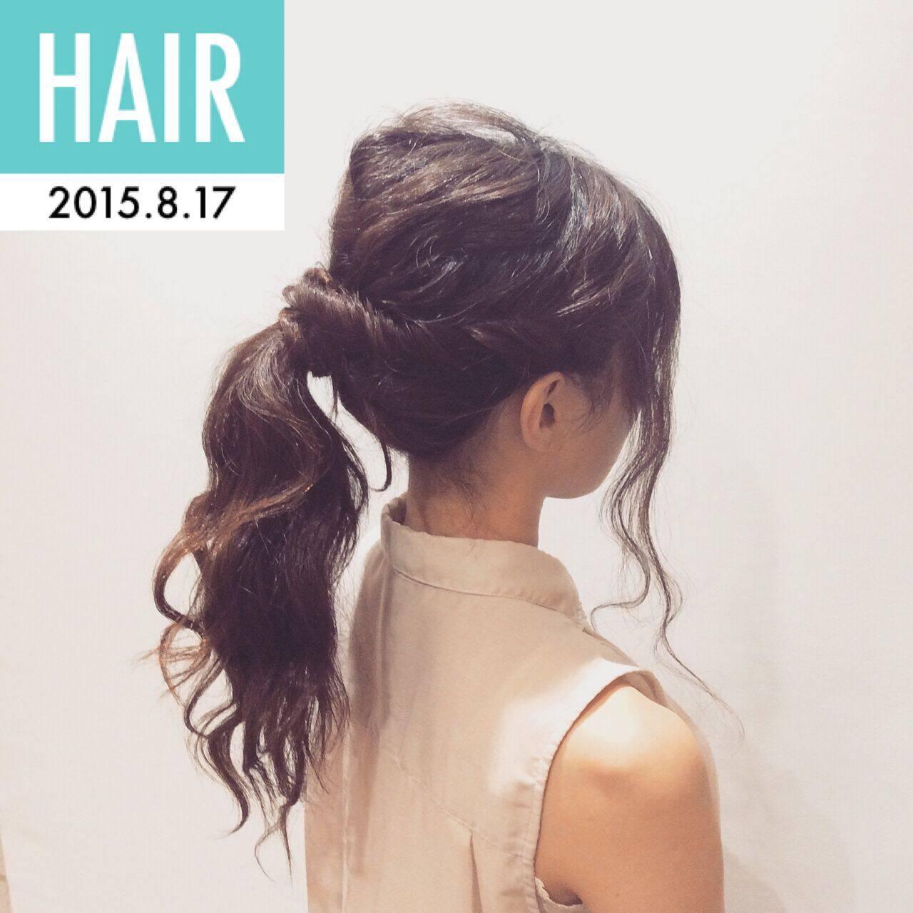 ヘアアレンジ セミロング ナチュラル ポニーテールヘアスタイルや髪型の写真・画像