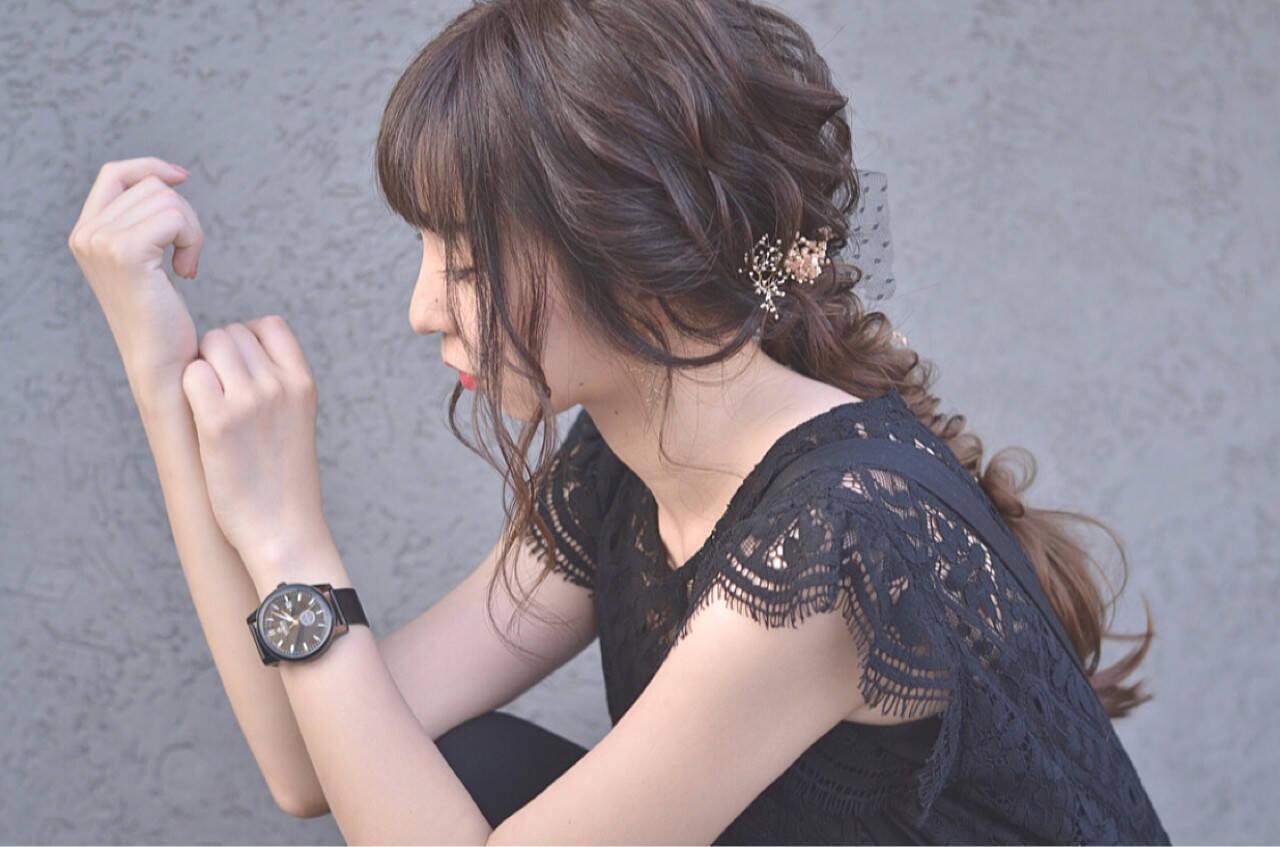 上品 エレガント デート 編み込みヘアスタイルや髪型の写真・画像