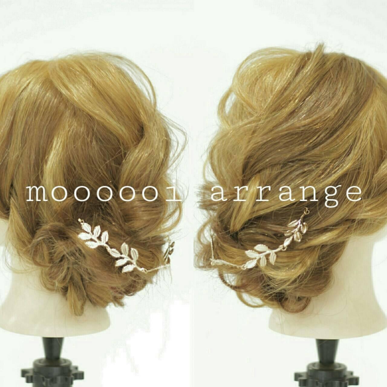 セミロング 編み込み ゆるふわ ツイストヘアスタイルや髪型の写真・画像