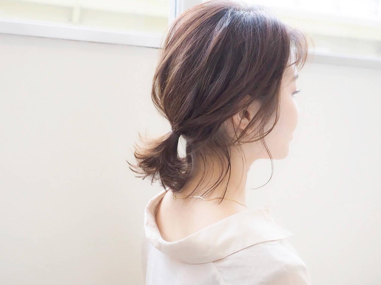 ミルクティーベージュ ポニーテール ボブ ポニーテールアレンジヘアスタイルや髪型の写真・画像