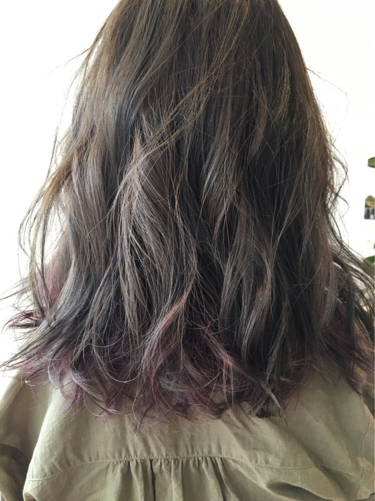 モード パープル セミロング ピンクアッシュヘアスタイルや髪型の写真・画像