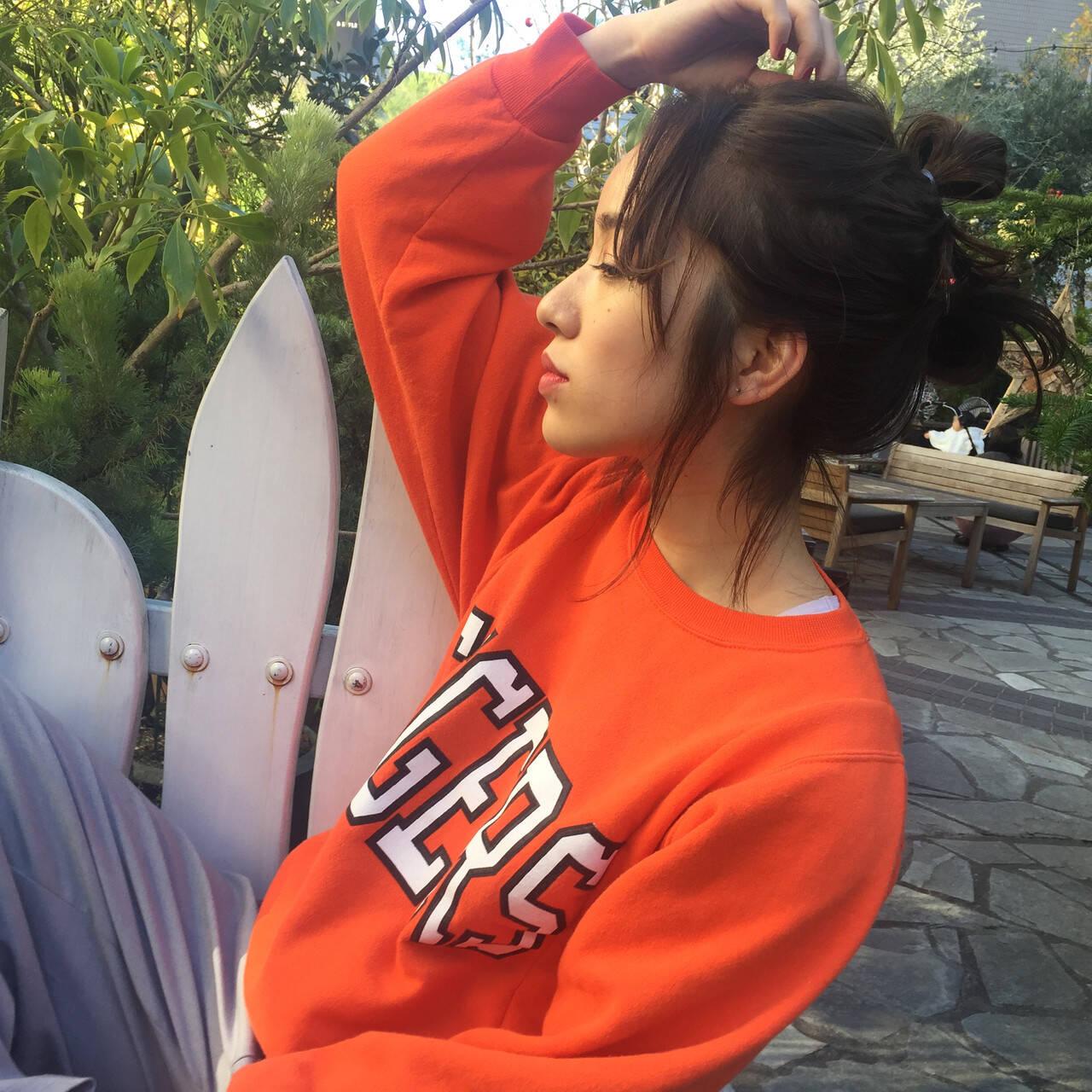 お団子アレンジ ナチュラル セルフヘアアレンジ ボブアレンジヘアスタイルや髪型の写真・画像