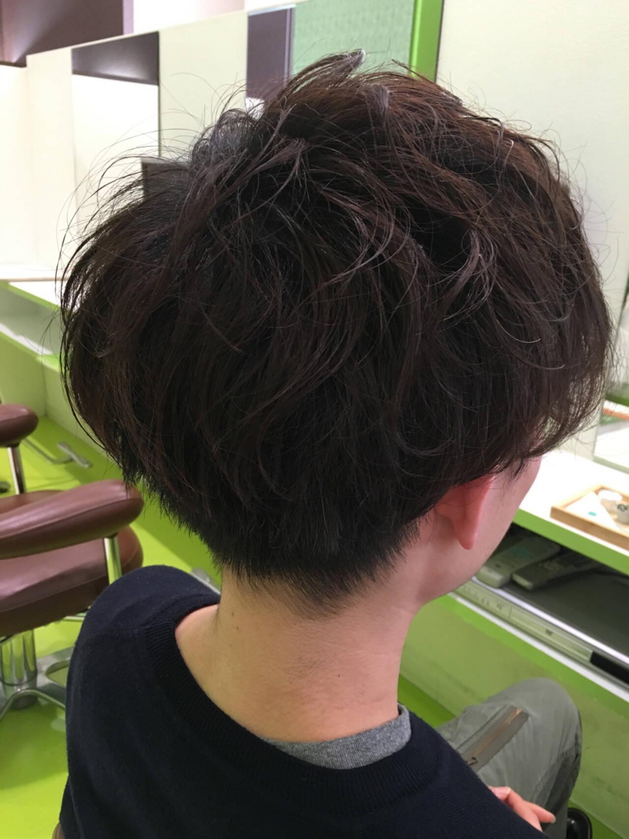 マッシュ パーマ ナチュラル ショートヘアスタイルや髪型の写真・画像