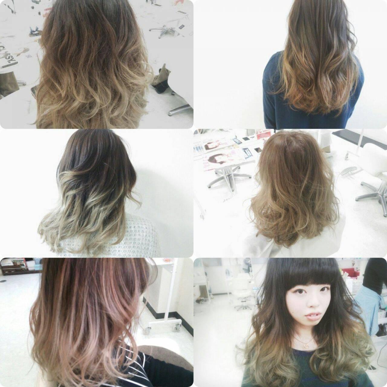 ブラウンベージュ グラデーションカラー アッシュ 外国人風ヘアスタイルや髪型の写真・画像