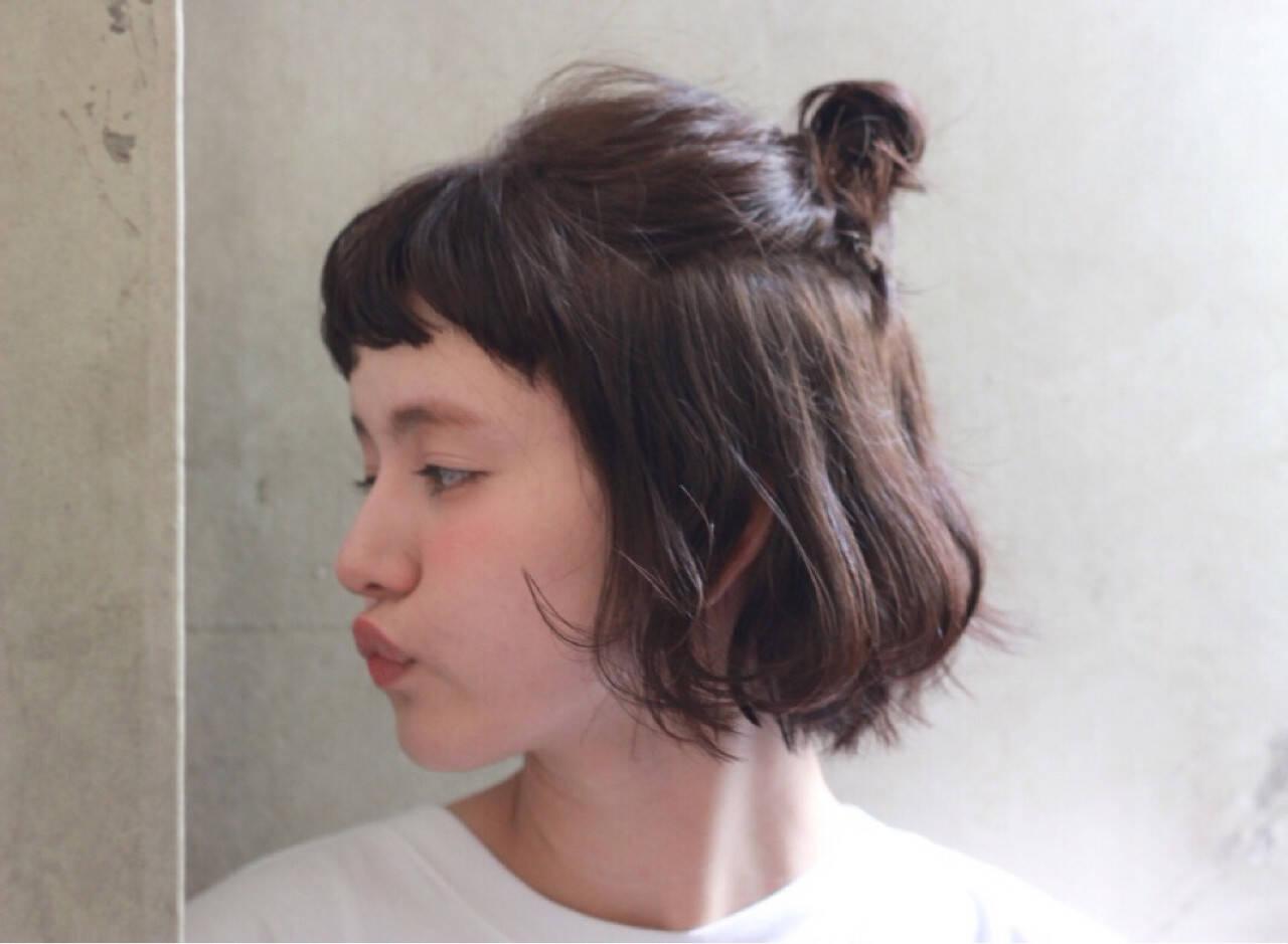 前髪あり ハーフアップ パーマ ボブヘアスタイルや髪型の写真・画像