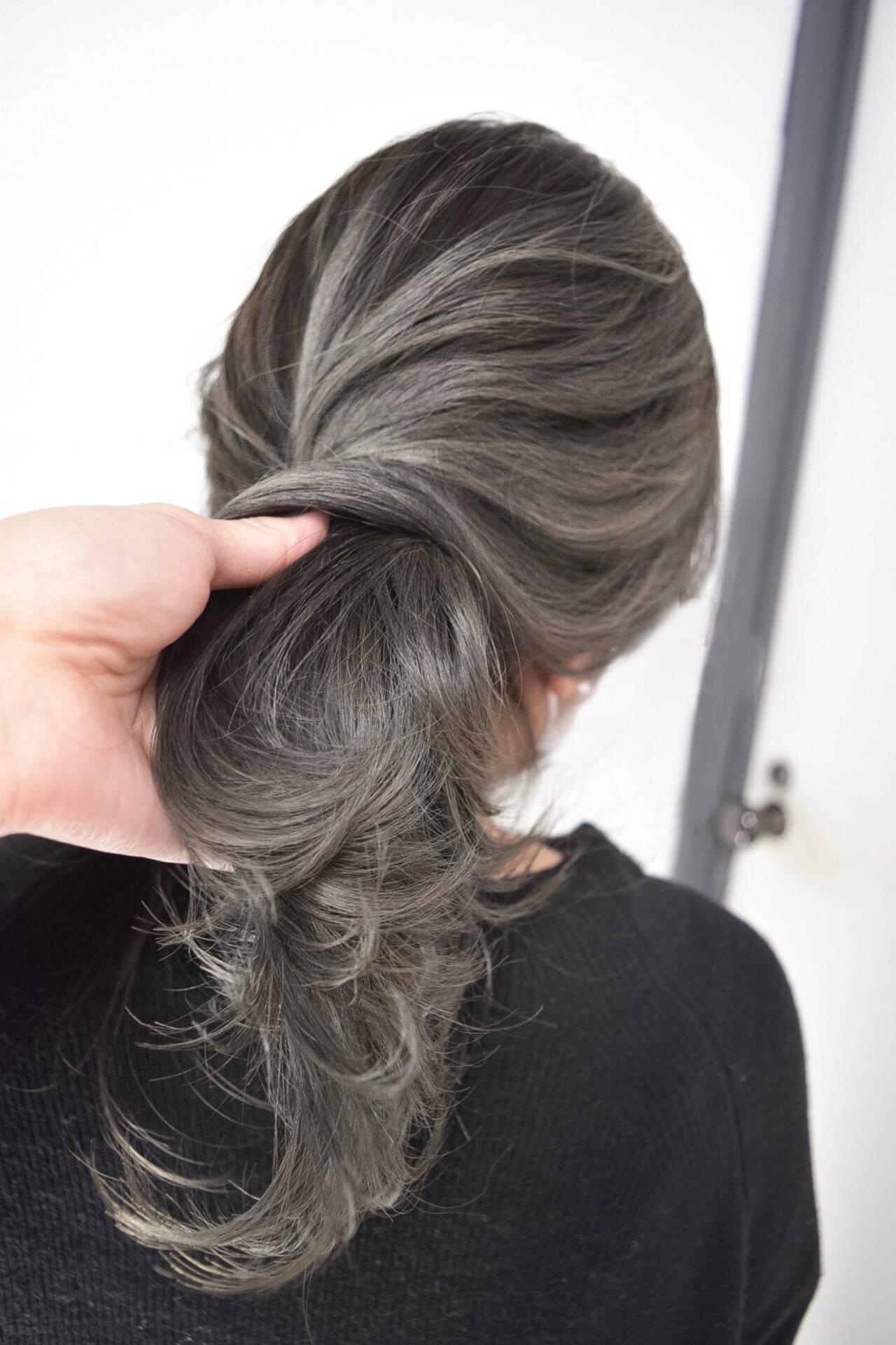大人かわいい セミロング バレイヤージュ 外国人風カラーヘアスタイルや髪型の写真・画像