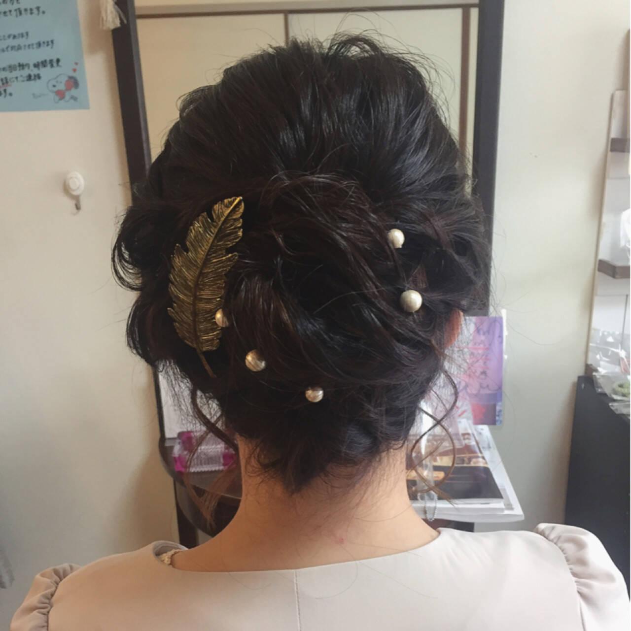 フェミニン 結婚式 ボブ ロープ編みヘアスタイルや髪型の写真・画像