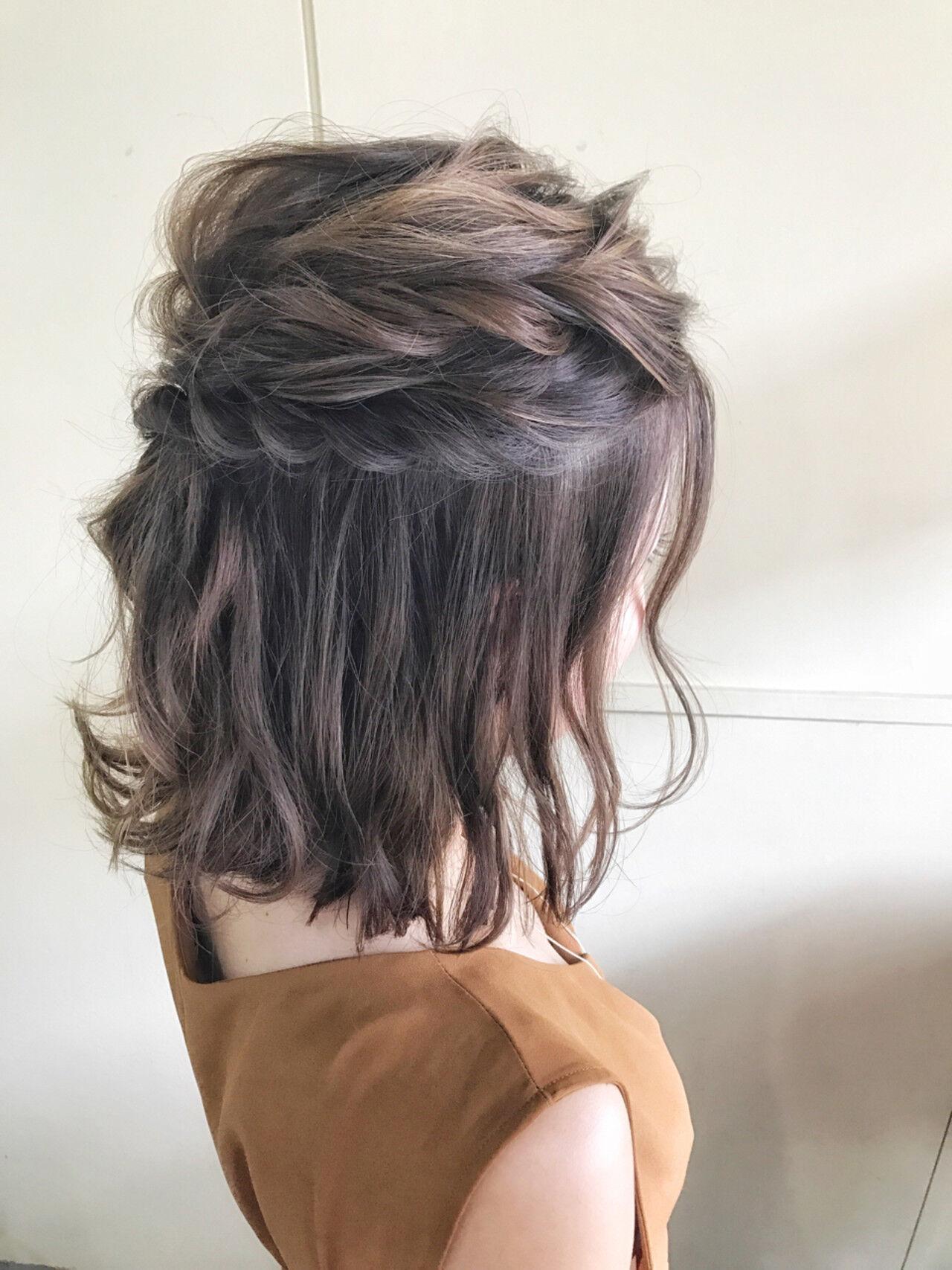 結婚式 ハーフアップ ボブ ヘアアレンジヘアスタイルや髪型の写真・画像