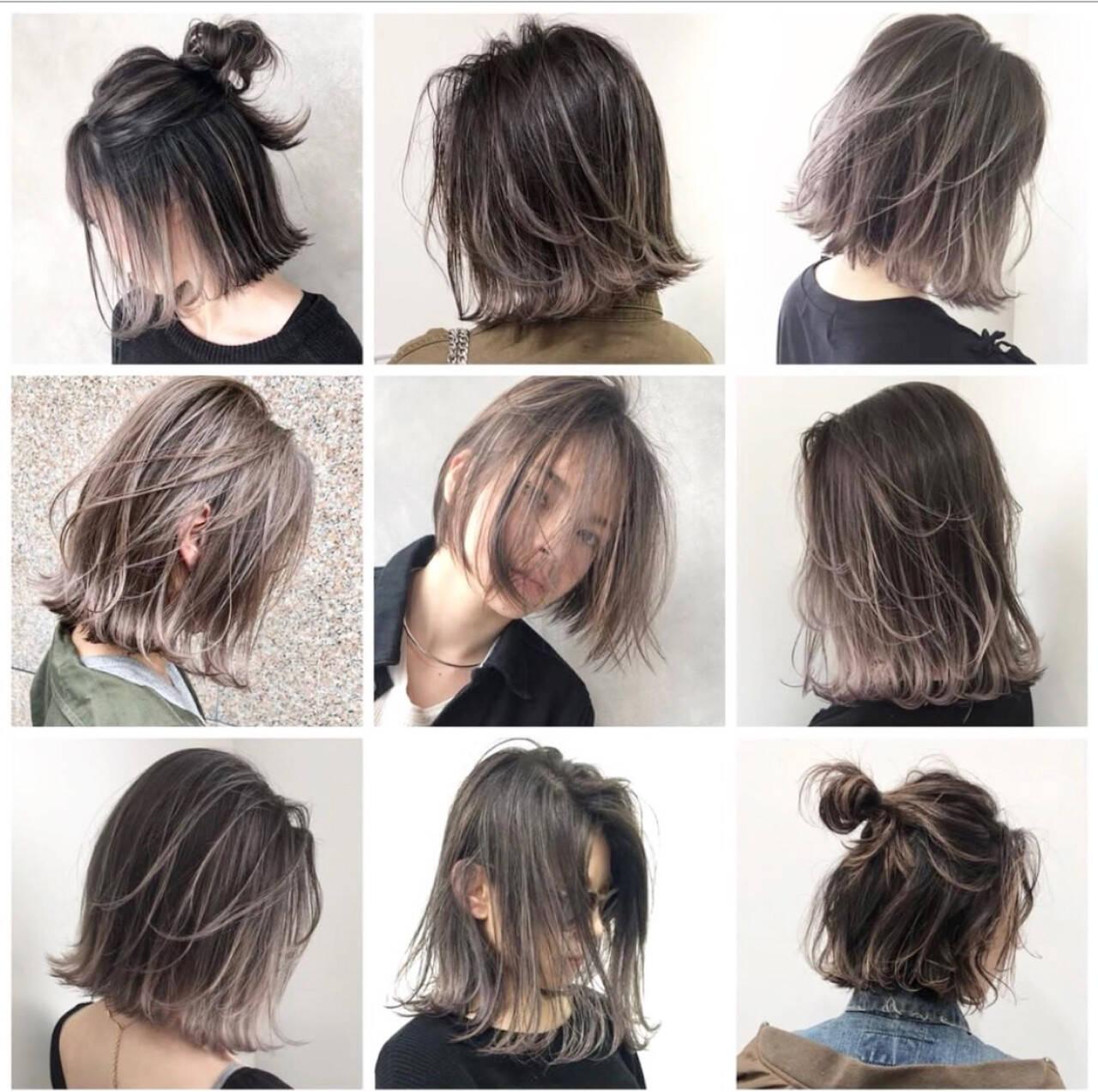 グレージュ 外国人風 ヘアアレンジ アッシュヘアスタイルや髪型の写真・画像