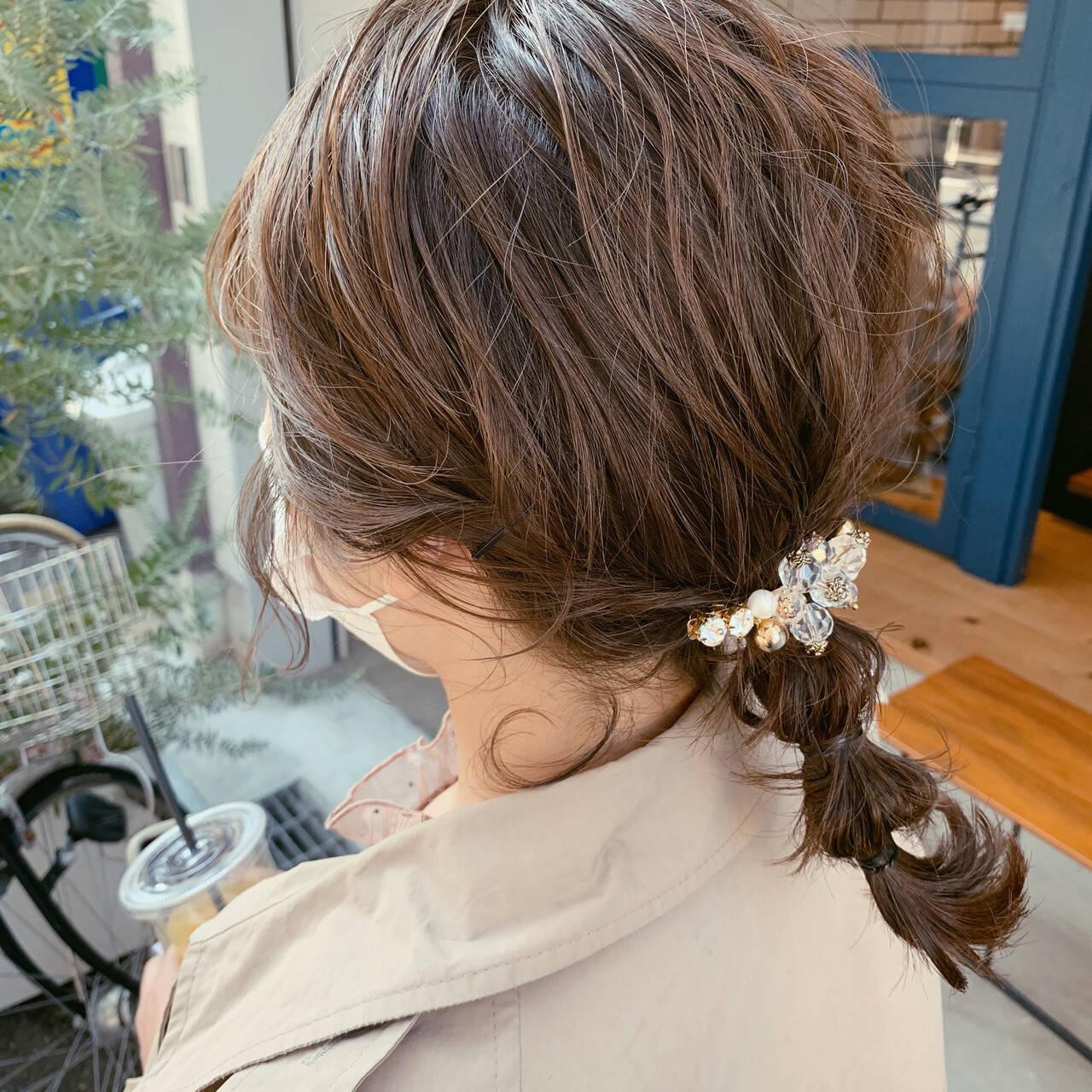 結婚式ヘアアレンジ 簡単ヘアアレンジ オリーブベージュ ヘアアレンジヘアスタイルや髪型の写真・画像