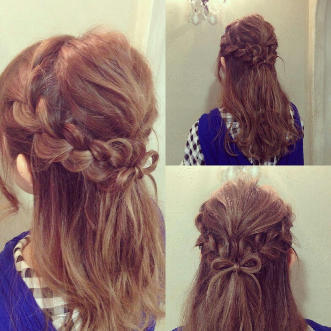 編み込み 大人かわいい セミロング パーティヘアスタイルや髪型の写真・画像