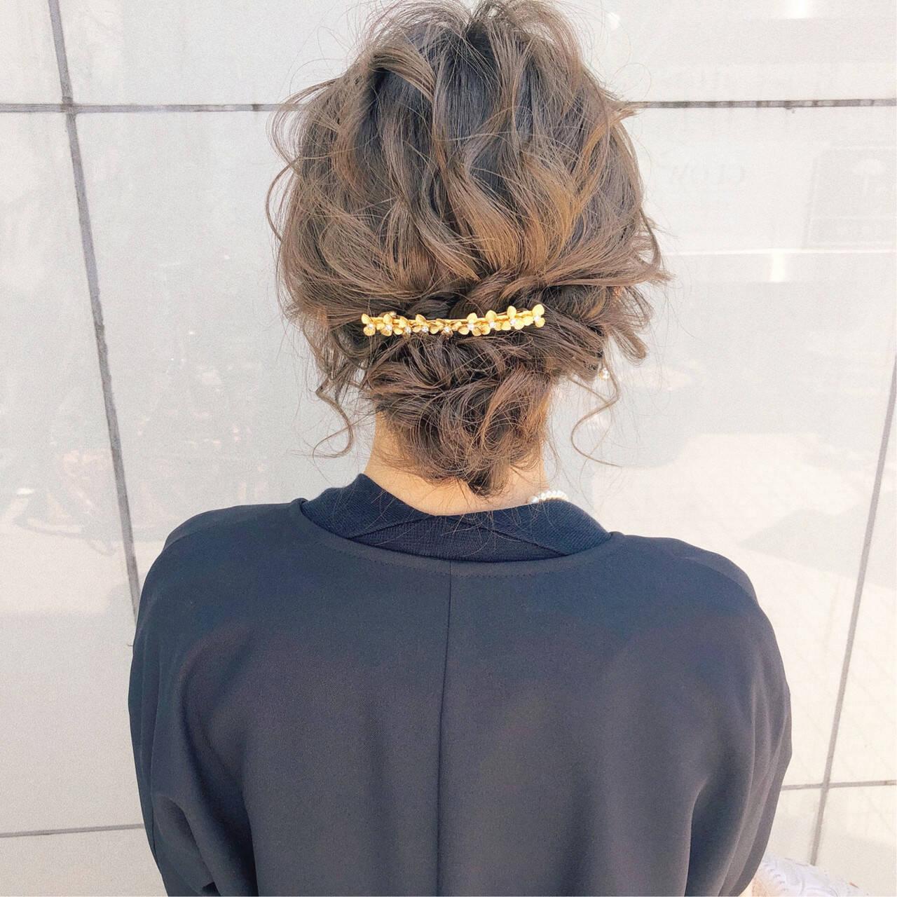簡単ヘアアレンジ 結婚式 デート ロングヘアスタイルや髪型の写真・画像