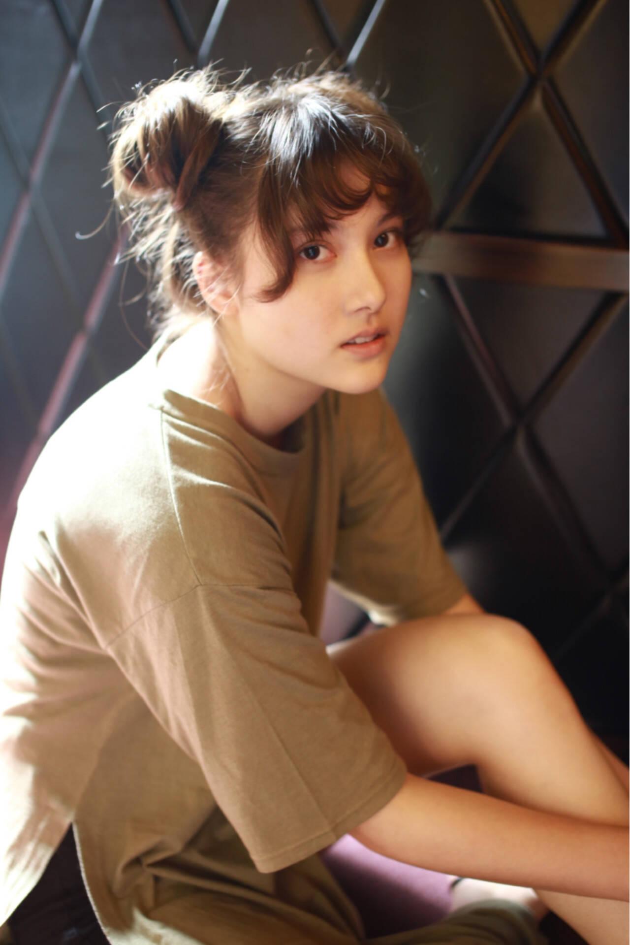 ロング ショート 簡単ヘアアレンジ ナチュラルヘアスタイルや髪型の写真・画像