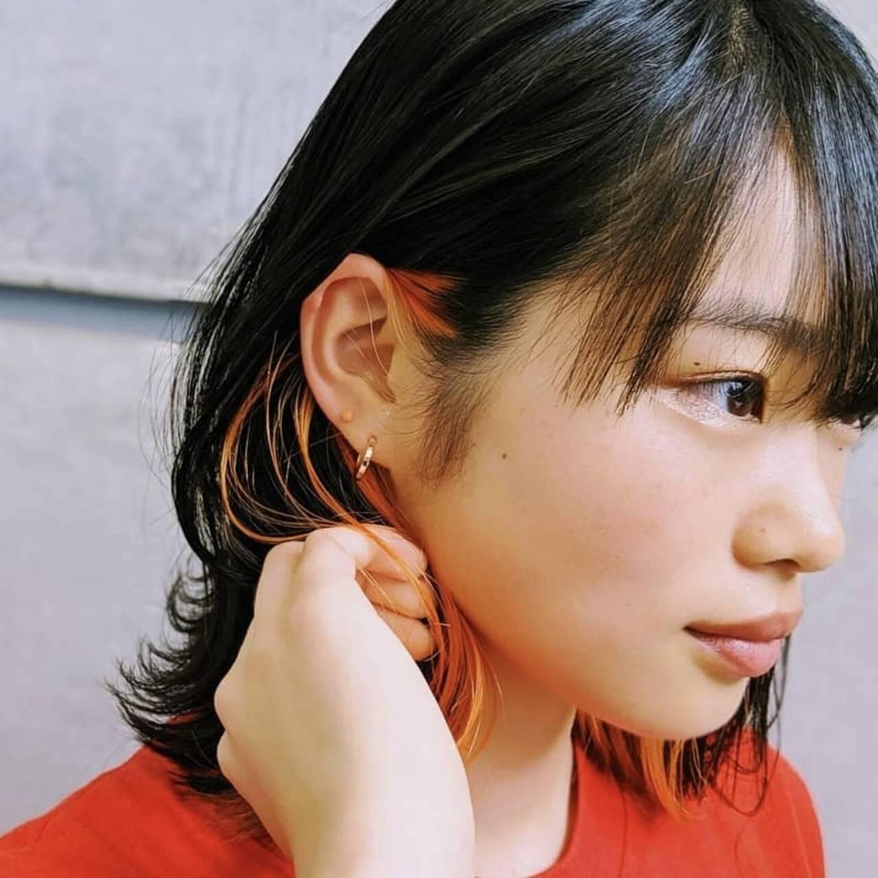 ナチュラル ボブ オレンジ インナーカラーヘアスタイルや髪型の写真・画像