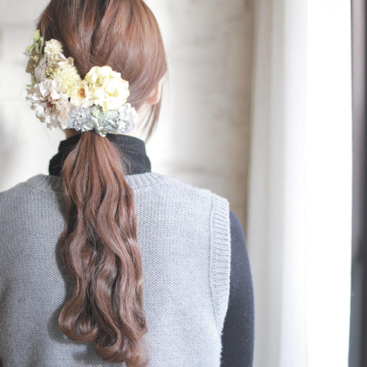 結婚式 ショート ゆるふわ ロングヘアスタイルや髪型の写真・画像