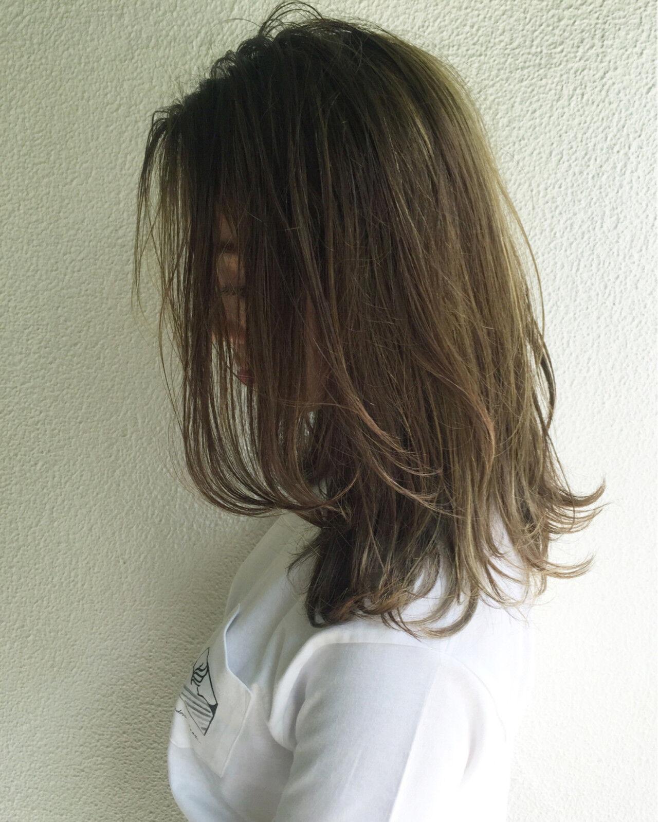 ハイライト グラデーションカラー ナチュラル 外国人風ヘアスタイルや髪型の写真・画像