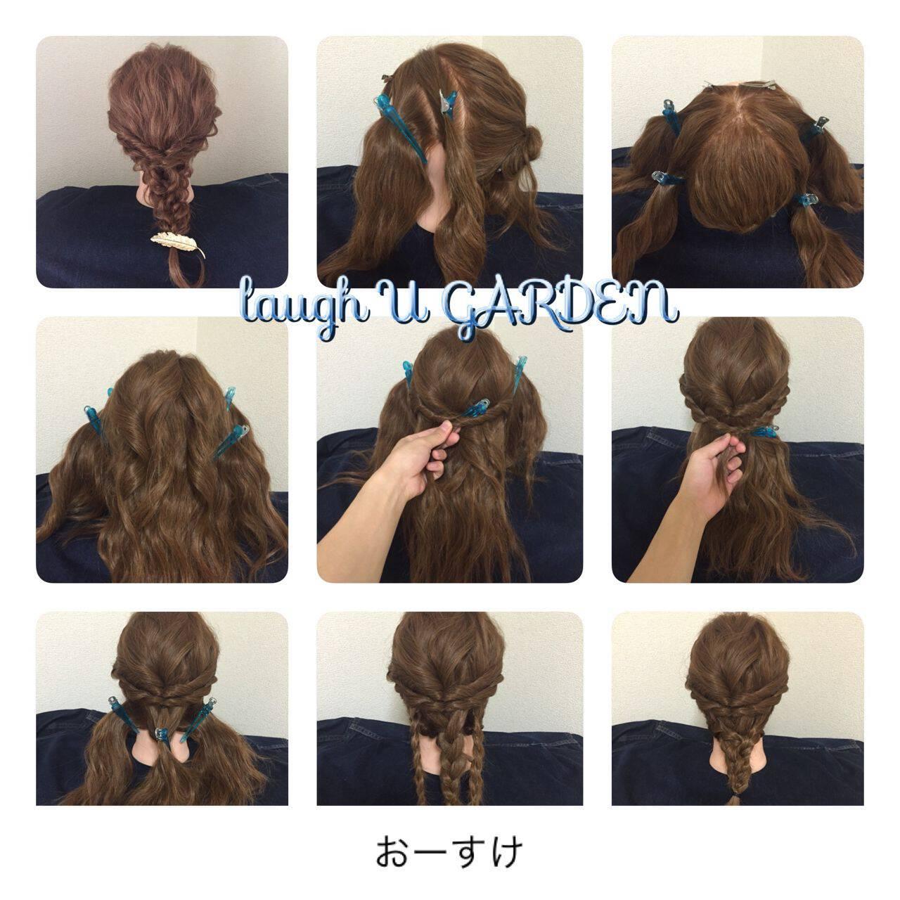 セミロング 三つ編み ヘアアレンジ 大人かわいいヘアスタイルや髪型の写真・画像