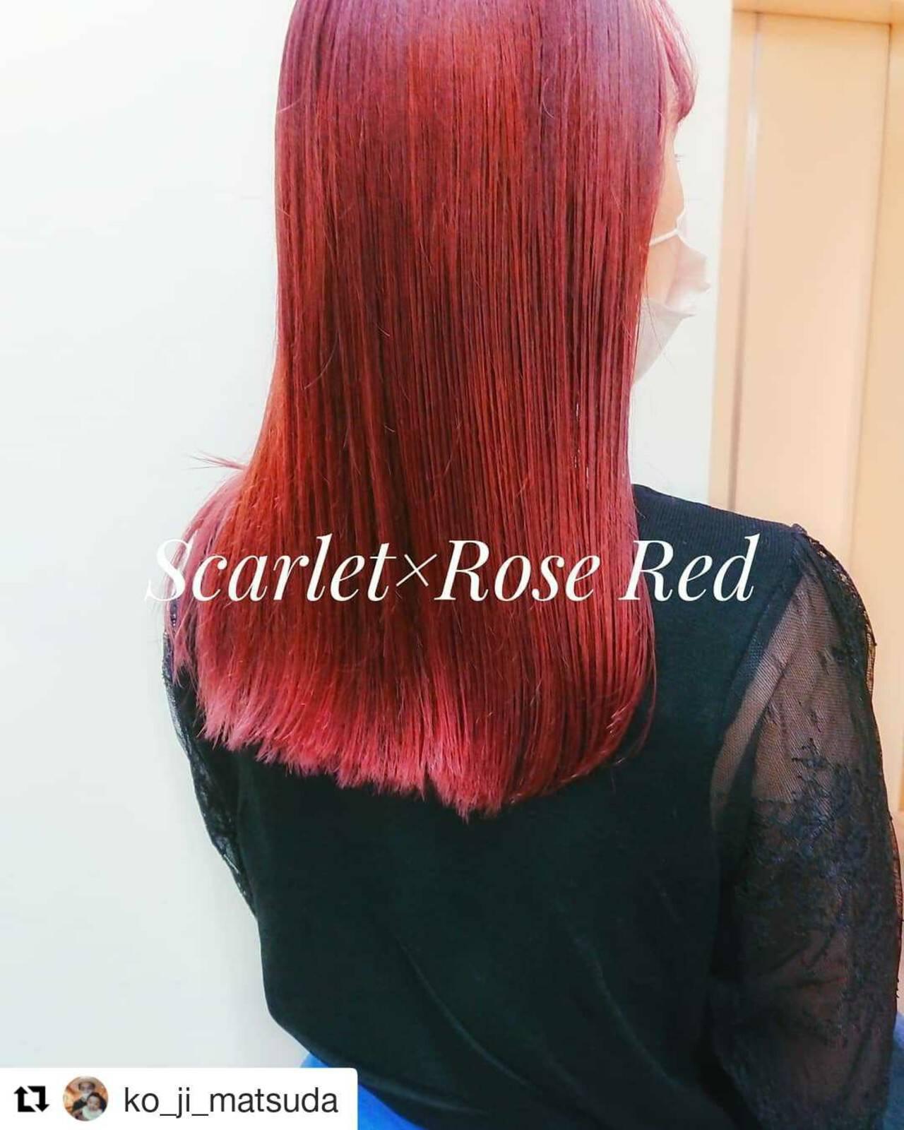 韓国風ヘアー ロング エレガント チェリーレッドヘアスタイルや髪型の写真・画像