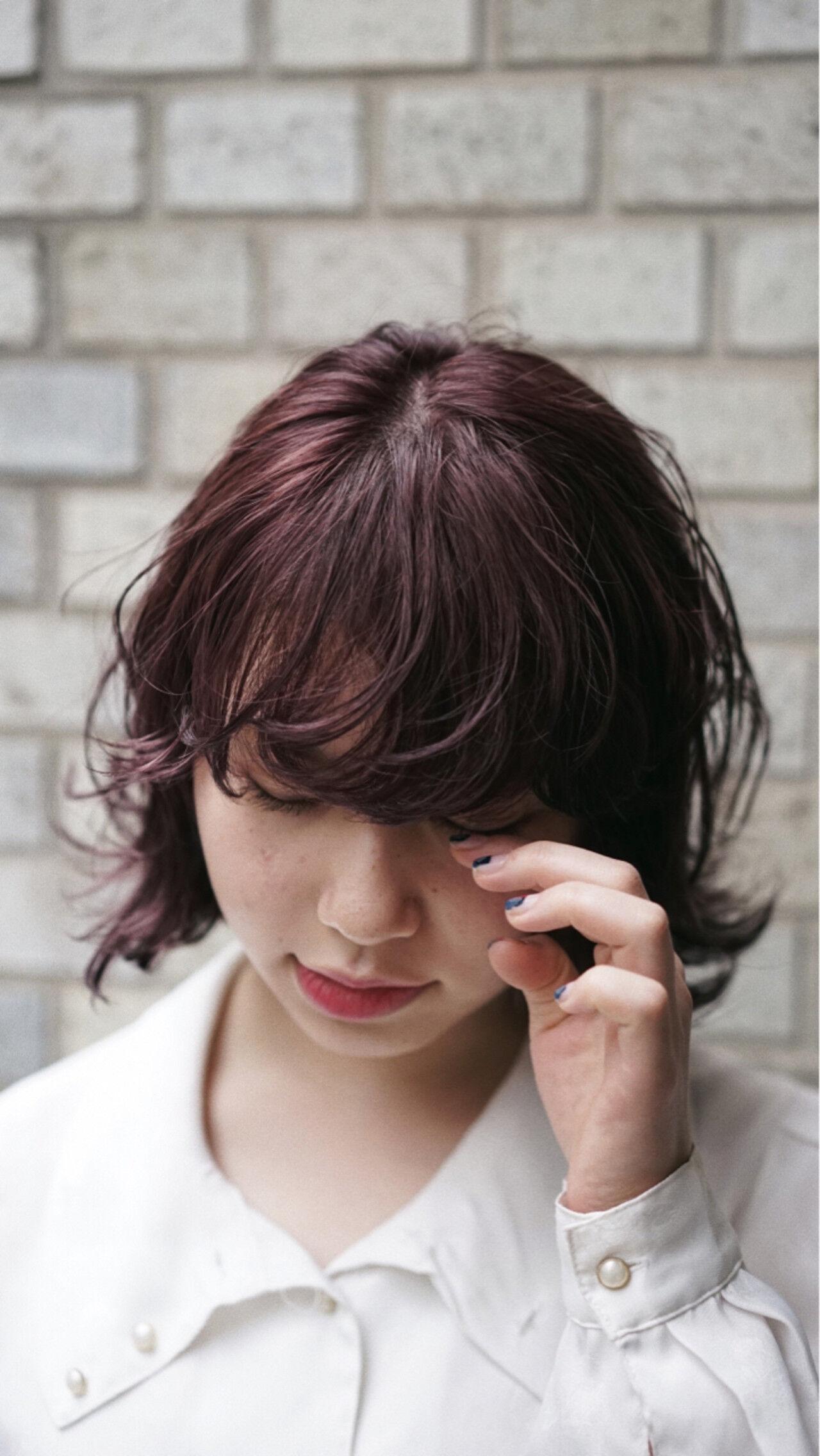 ピンク ミディアム ウルフカット ガーリーヘアスタイルや髪型の写真・画像