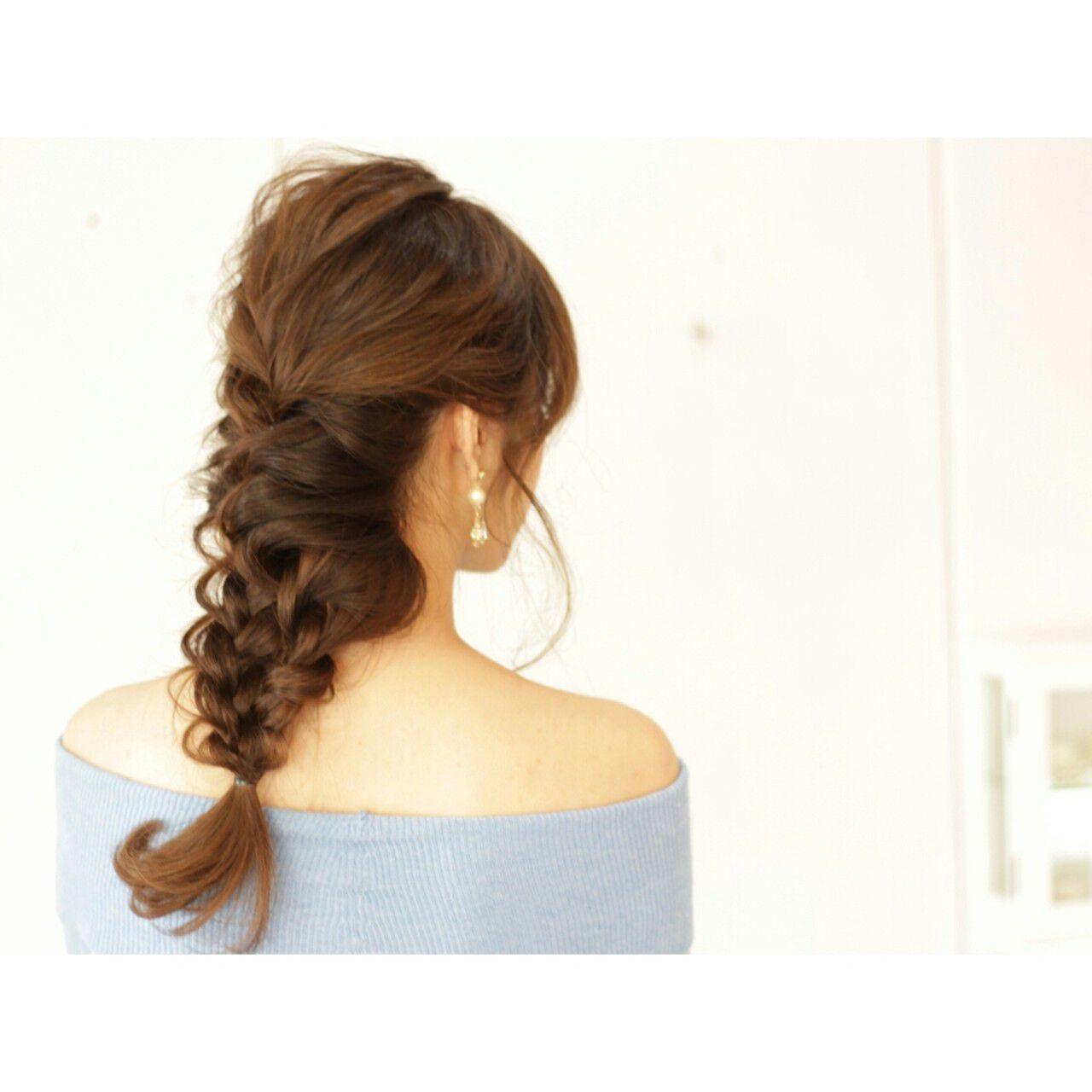 編み込み ゆるふわ セミロング ヘアアレンジヘアスタイルや髪型の写真・画像