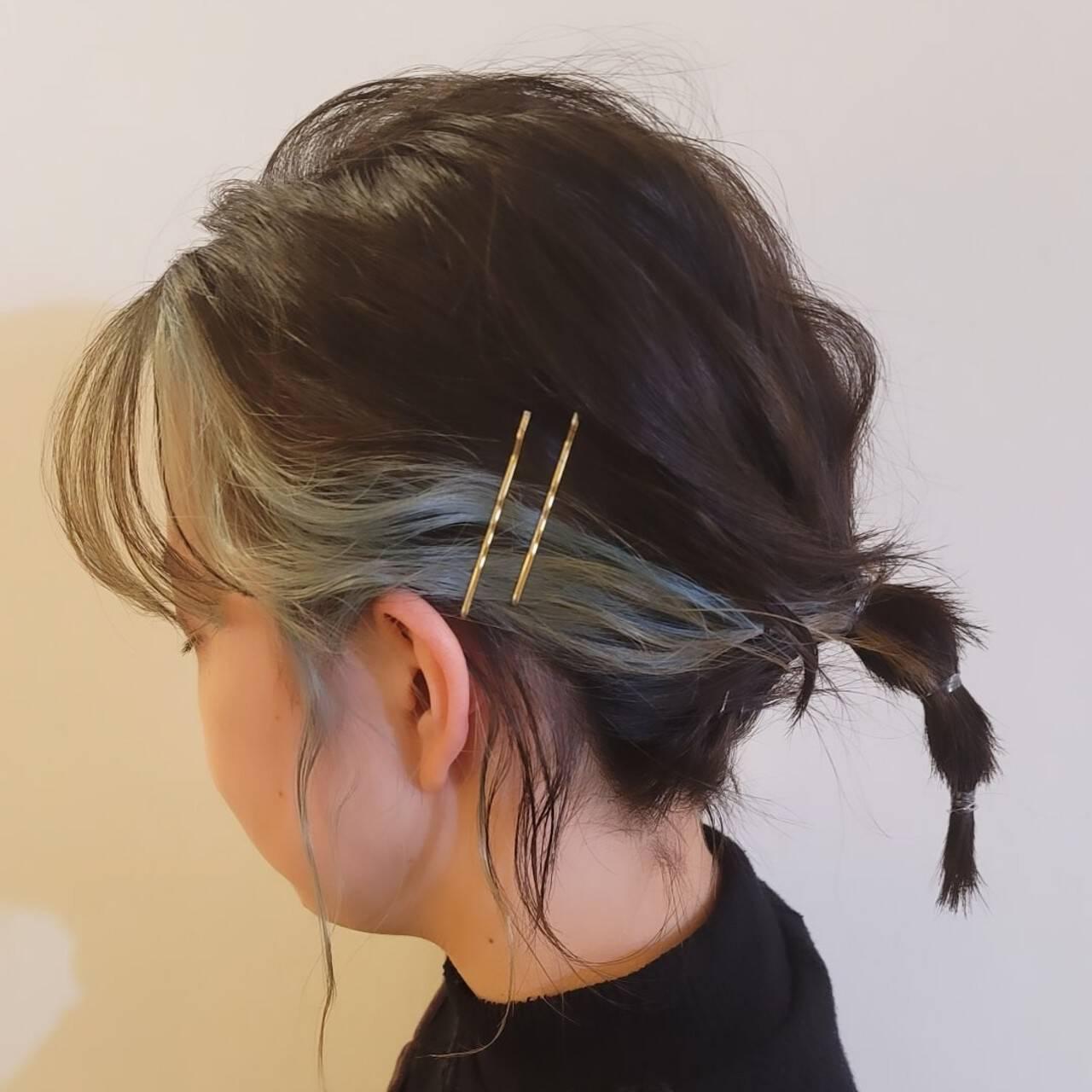 ボブ ヘアアレンジ ガーリー 簡単ヘアアレンジヘアスタイルや髪型の写真・画像