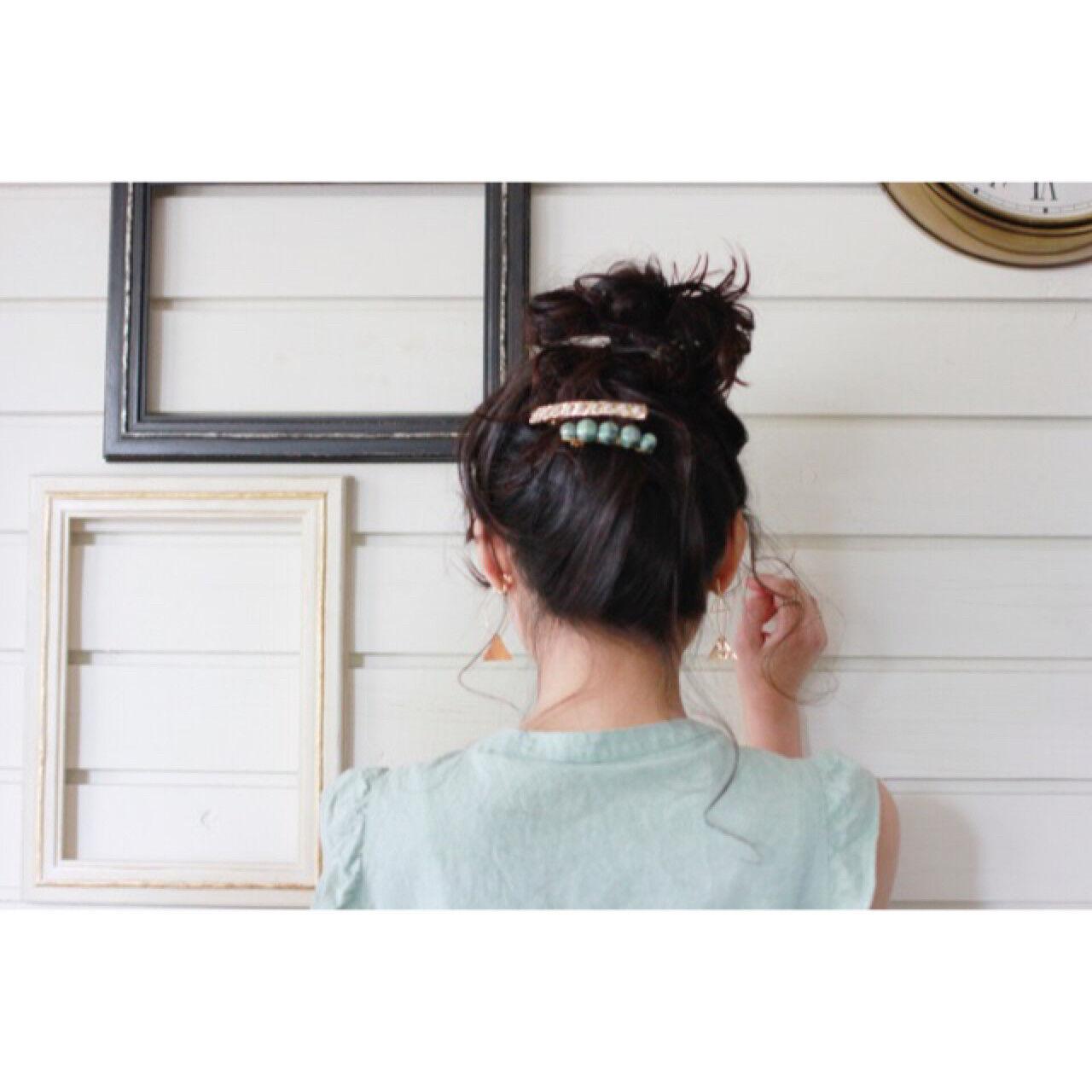 大人かわいい ミディアム ショート 簡単ヘアアレンジヘアスタイルや髪型の写真・画像