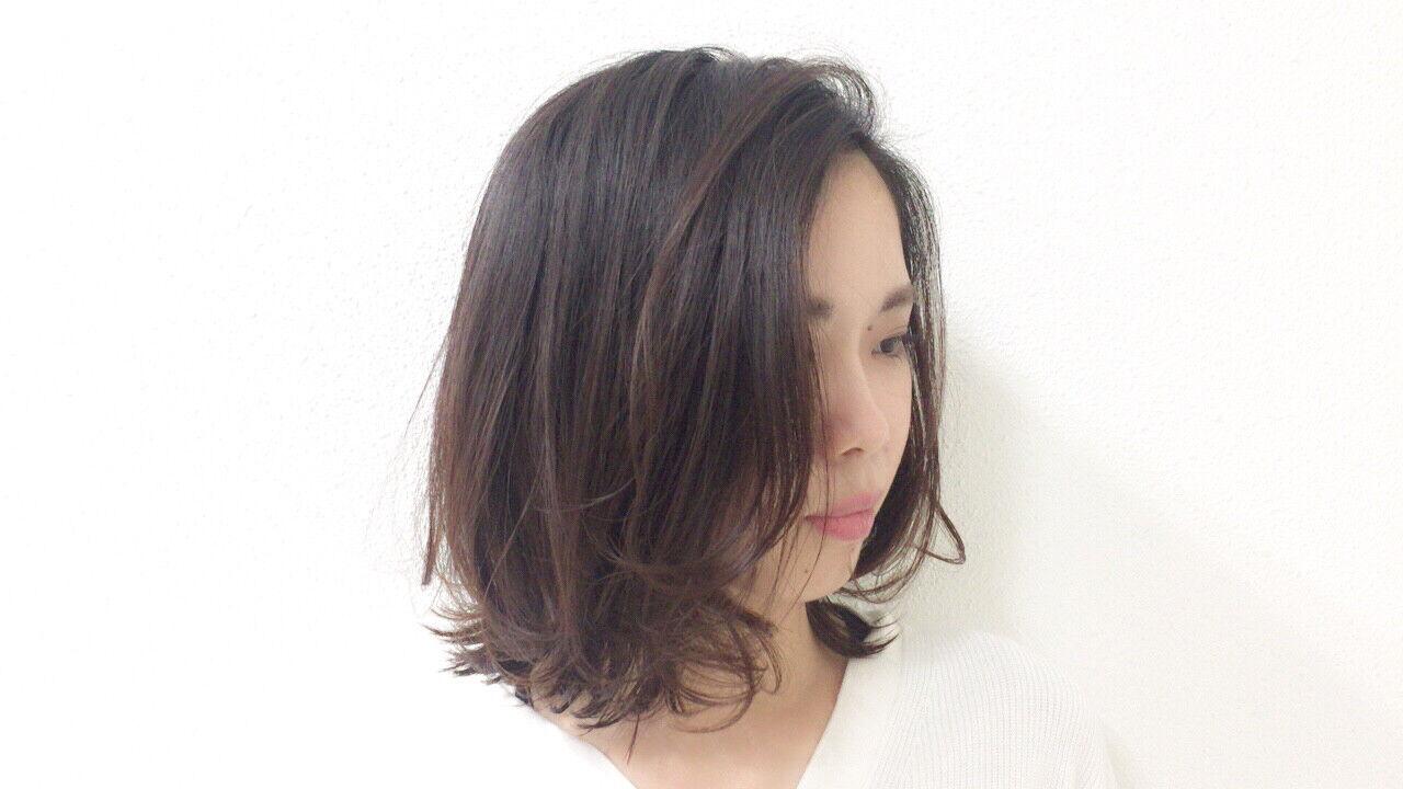 アンニュイほつれヘア セミウェット ナチュラル ボブヘアスタイルや髪型の写真・画像