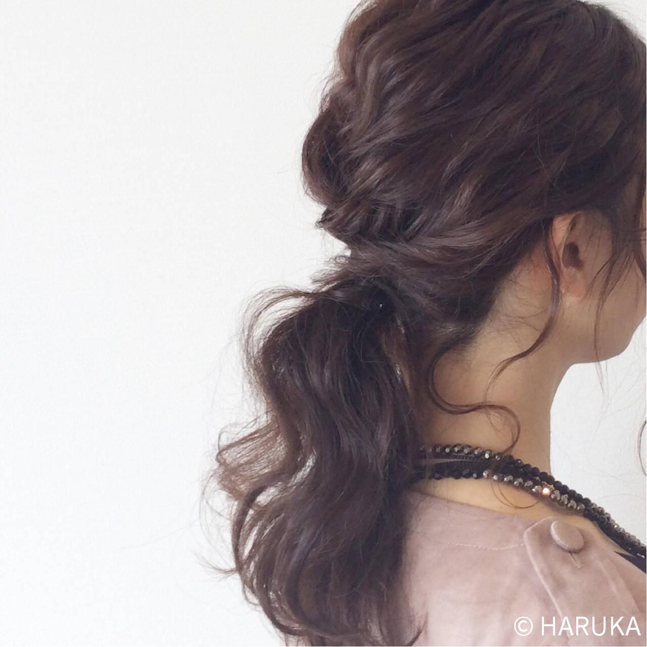 ゆるふわ ポニーテール ロング 結婚式ヘアスタイルや髪型の写真・画像