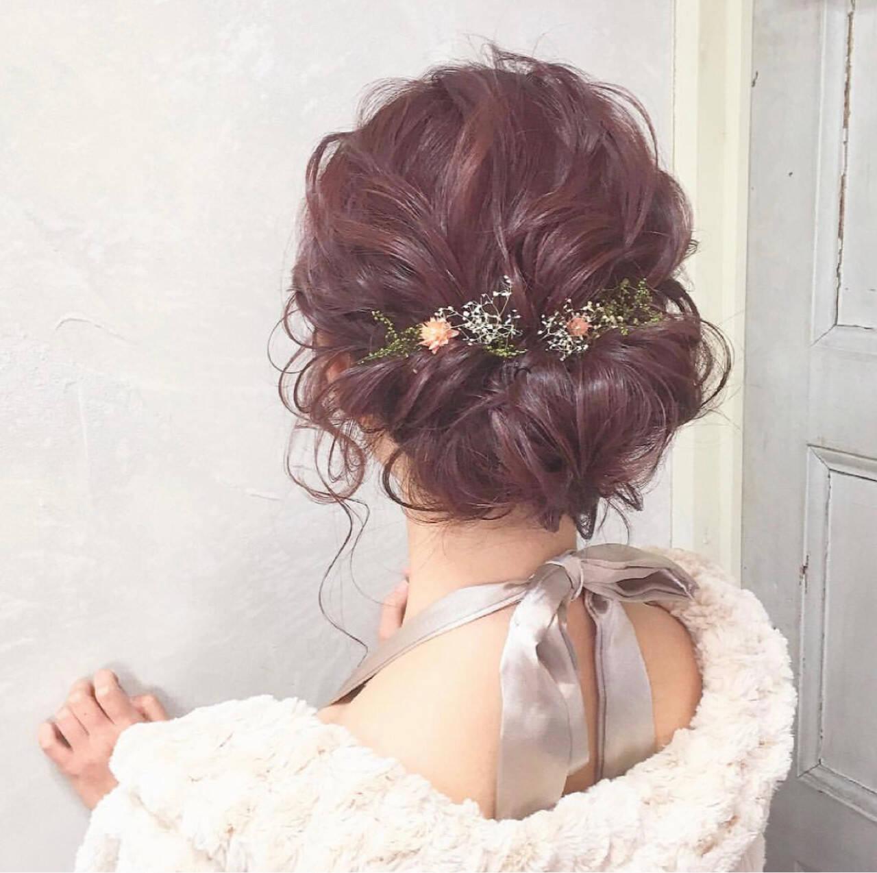 結婚式 ガーリー デート セミロングヘアスタイルや髪型の写真・画像