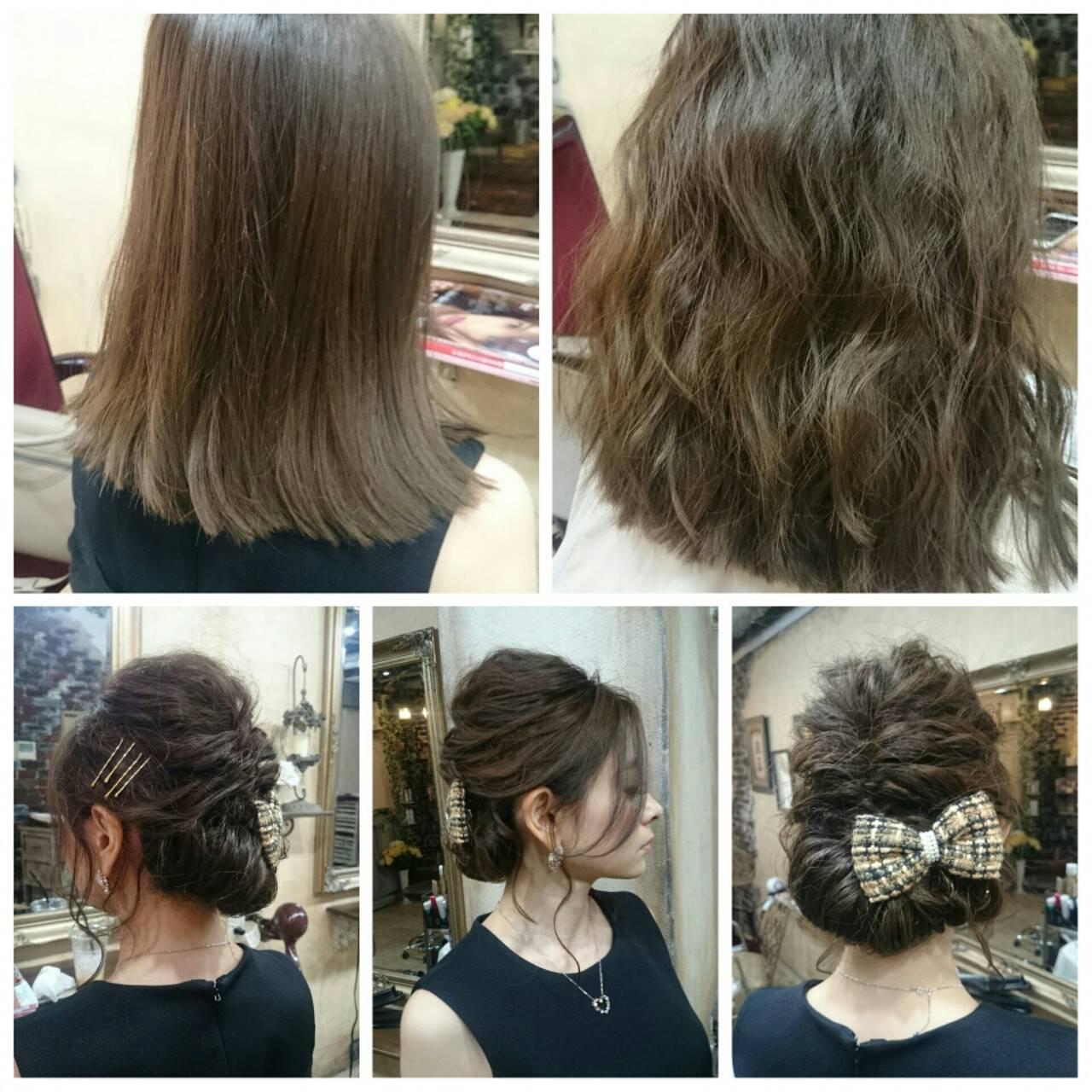 簡単ヘアアレンジ ヘアアレンジ ガーリー ミディアムヘアスタイルや髪型の写真・画像