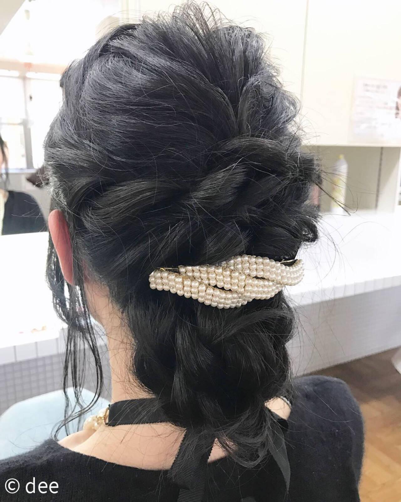 バレッタ 結婚式 黒髪 ロングヘアスタイルや髪型の写真・画像