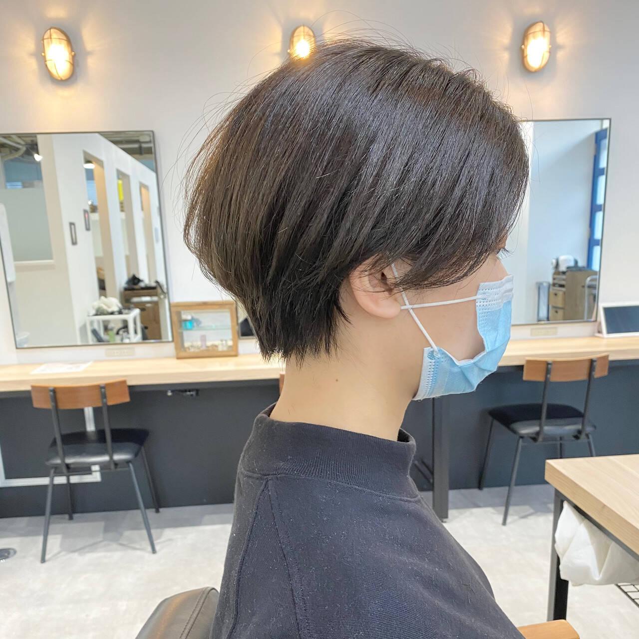 モード 小顔ショート ショート 前髪なしヘアスタイルや髪型の写真・画像