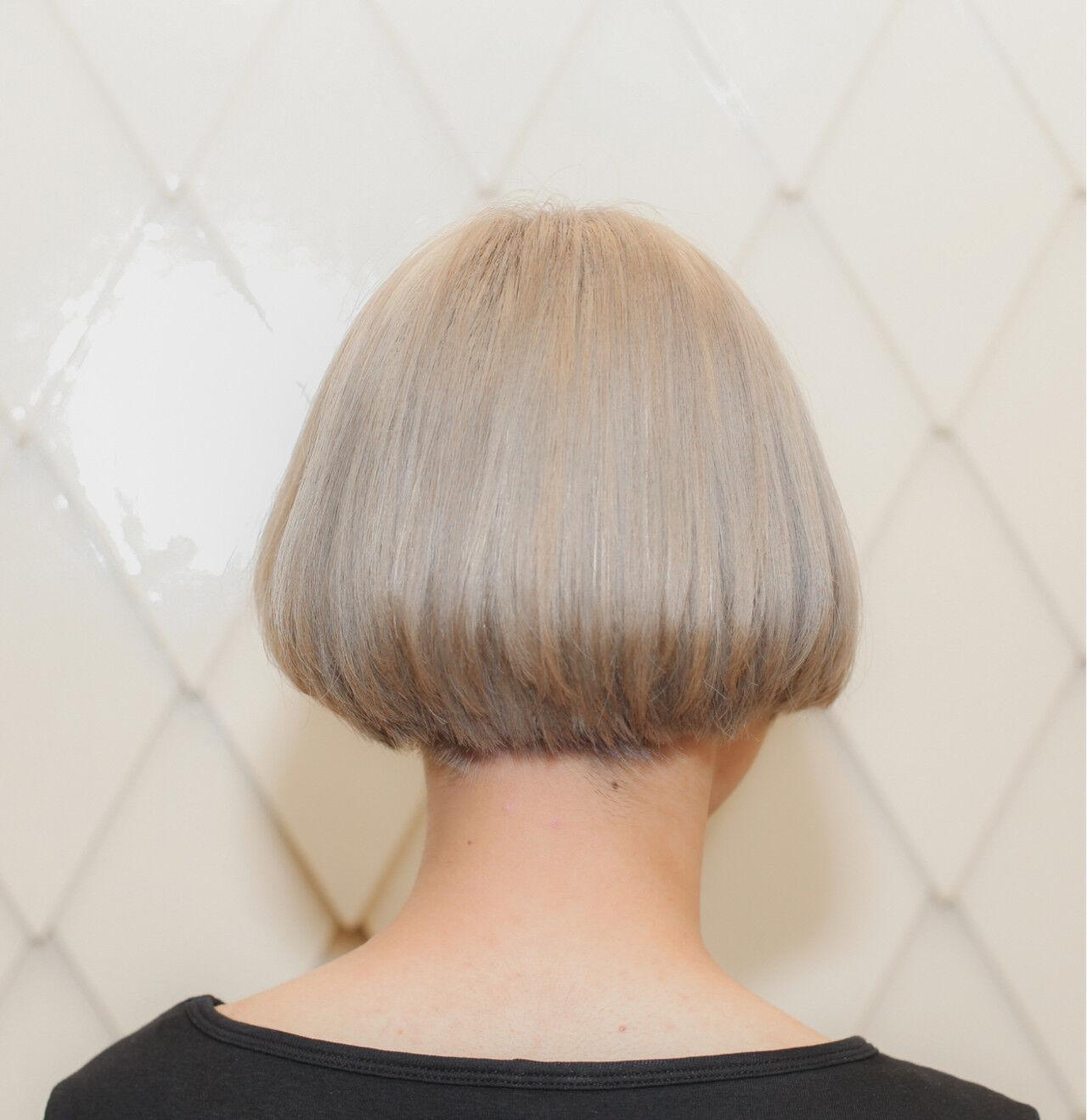 切りっぱなし アッシュ ナチュラル ボブヘアスタイルや髪型の写真・画像
