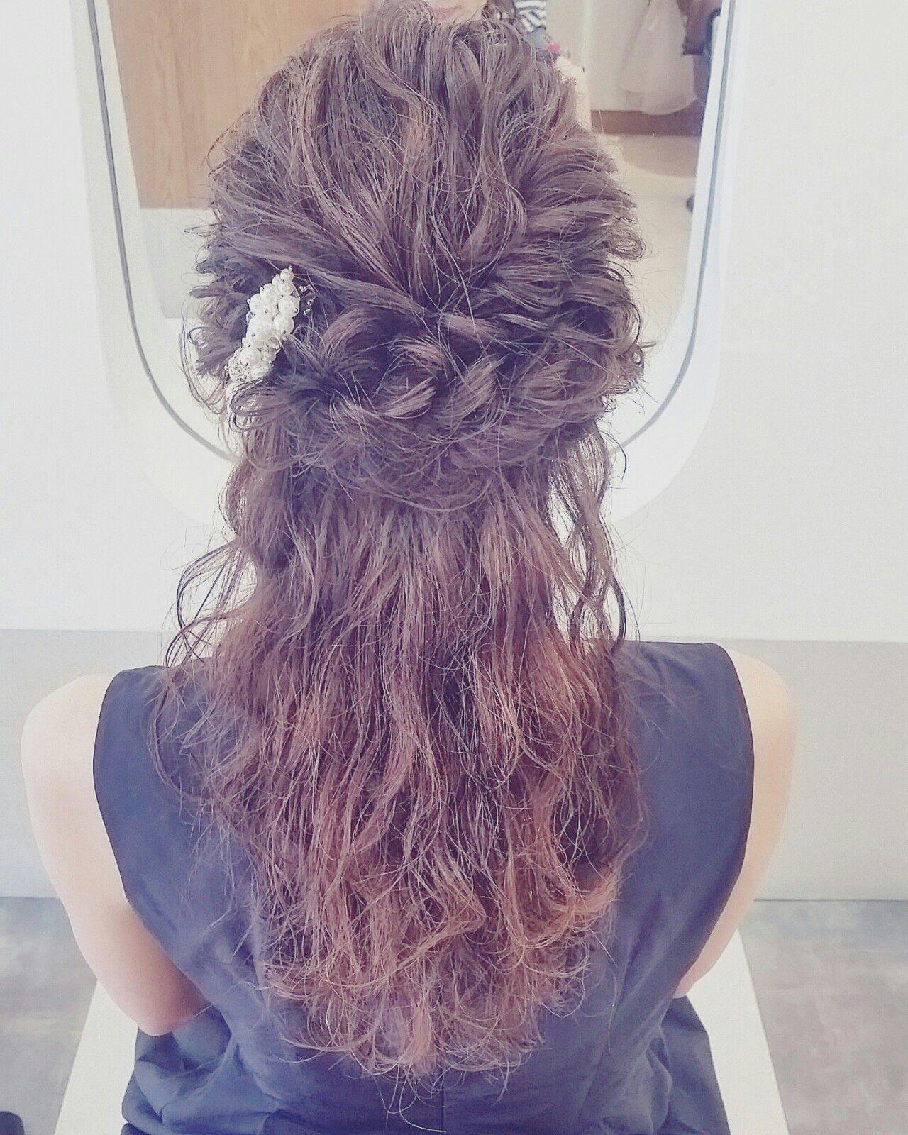 ハーフアップ ショート 簡単ヘアアレンジ 編み込みヘアスタイルや髪型の写真・画像