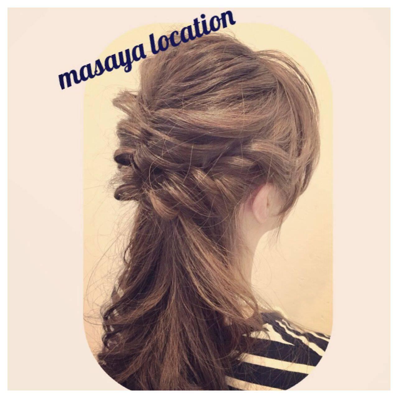 フェミニン ヘアアレンジ セミロング モテ髪ヘアスタイルや髪型の写真・画像