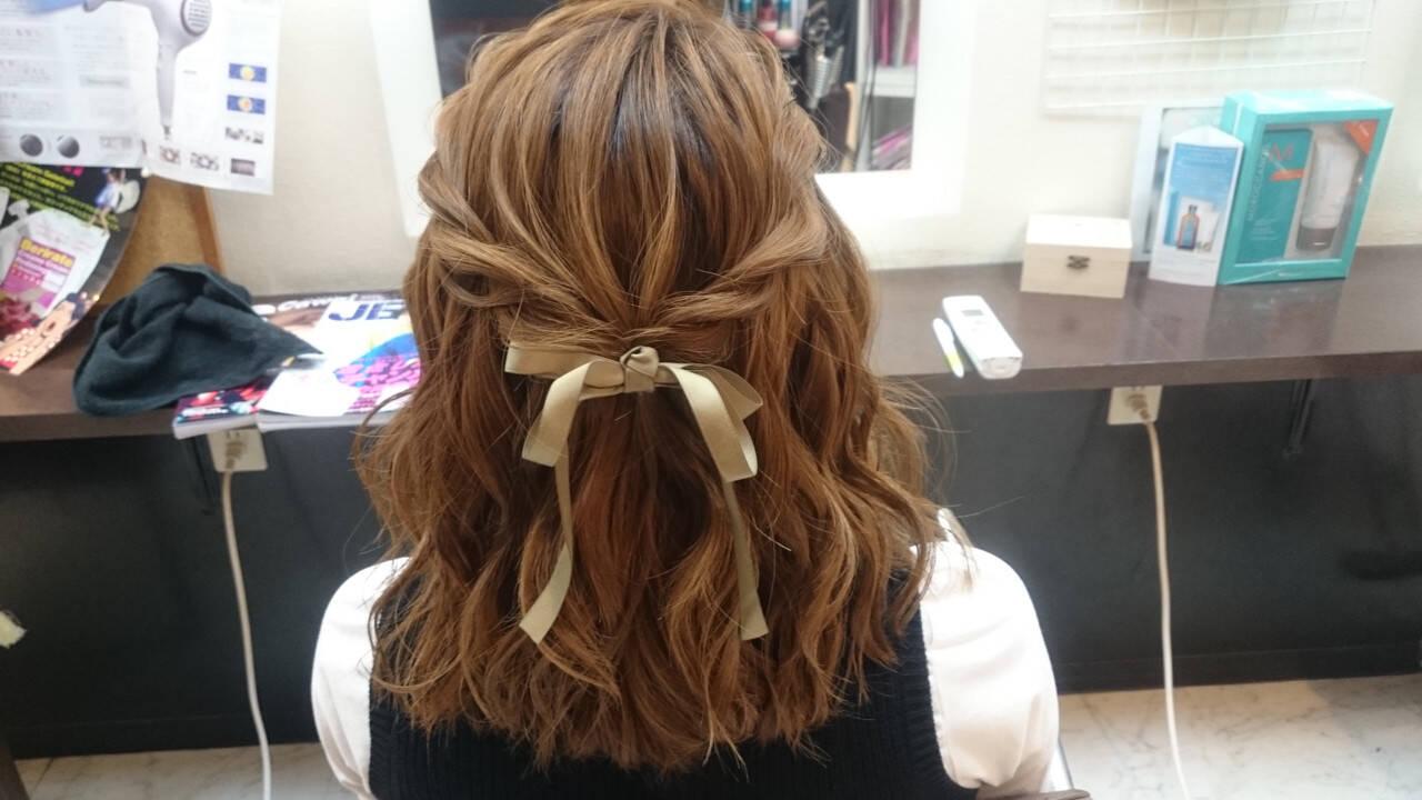 ヘアアレンジ ミディアム ガーリーヘアスタイルや髪型の写真・画像
