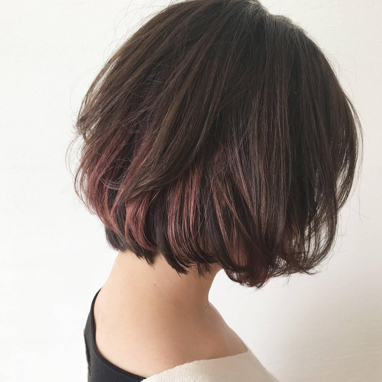 ボブ 外国人風 インナーカラー ストリートヘアスタイルや髪型の写真・画像