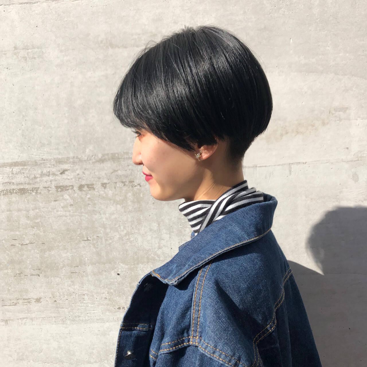 ハンサムショート 黒髪ショート ショート ショートヘアヘアスタイルや髪型の写真・画像
