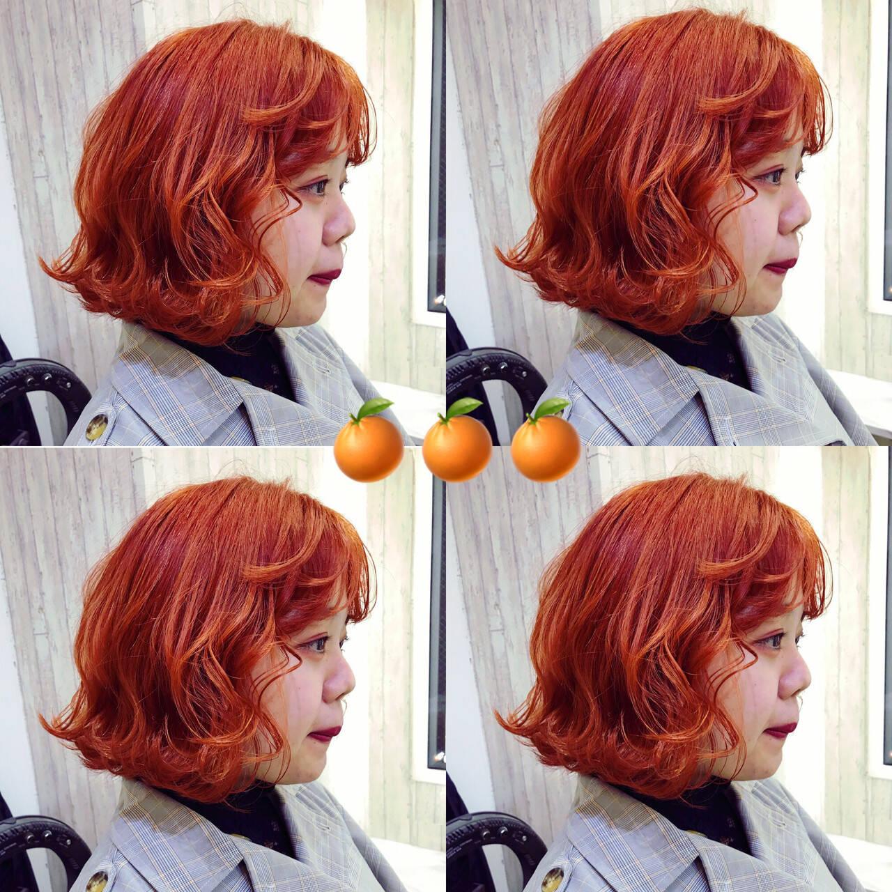 ナチュラル オレンジ ダブルカラー ショートヘアヘアスタイルや髪型の写真・画像