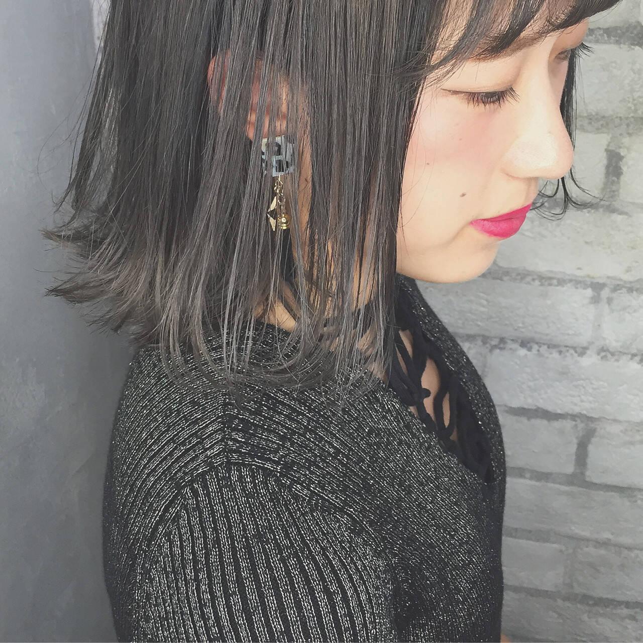 外ハネ ボブ 外国人風 アッシュヘアスタイルや髪型の写真・画像