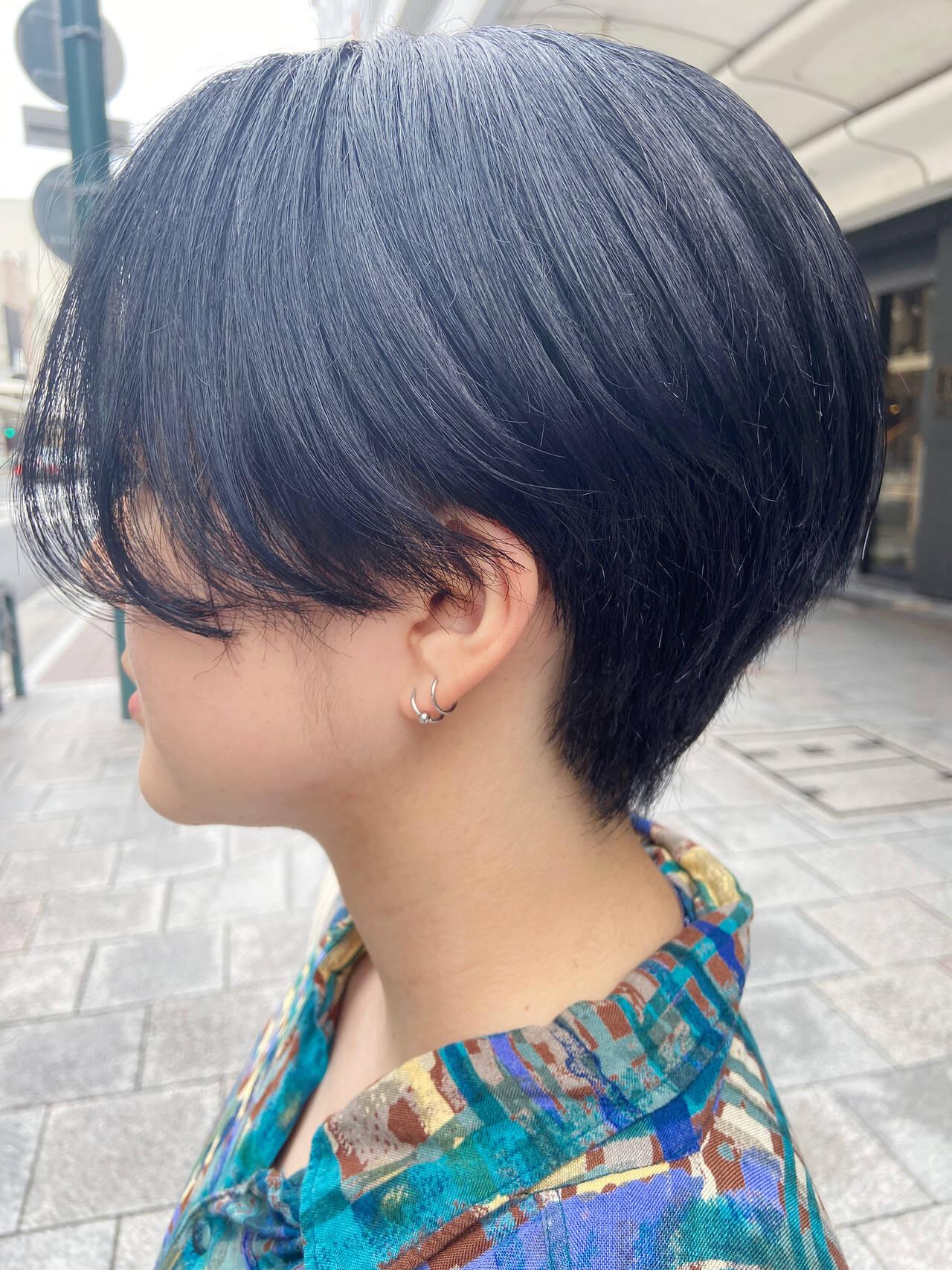 ブルーバイオレット ショート ショートヘア 大人ショートヘアスタイルや髪型の写真・画像