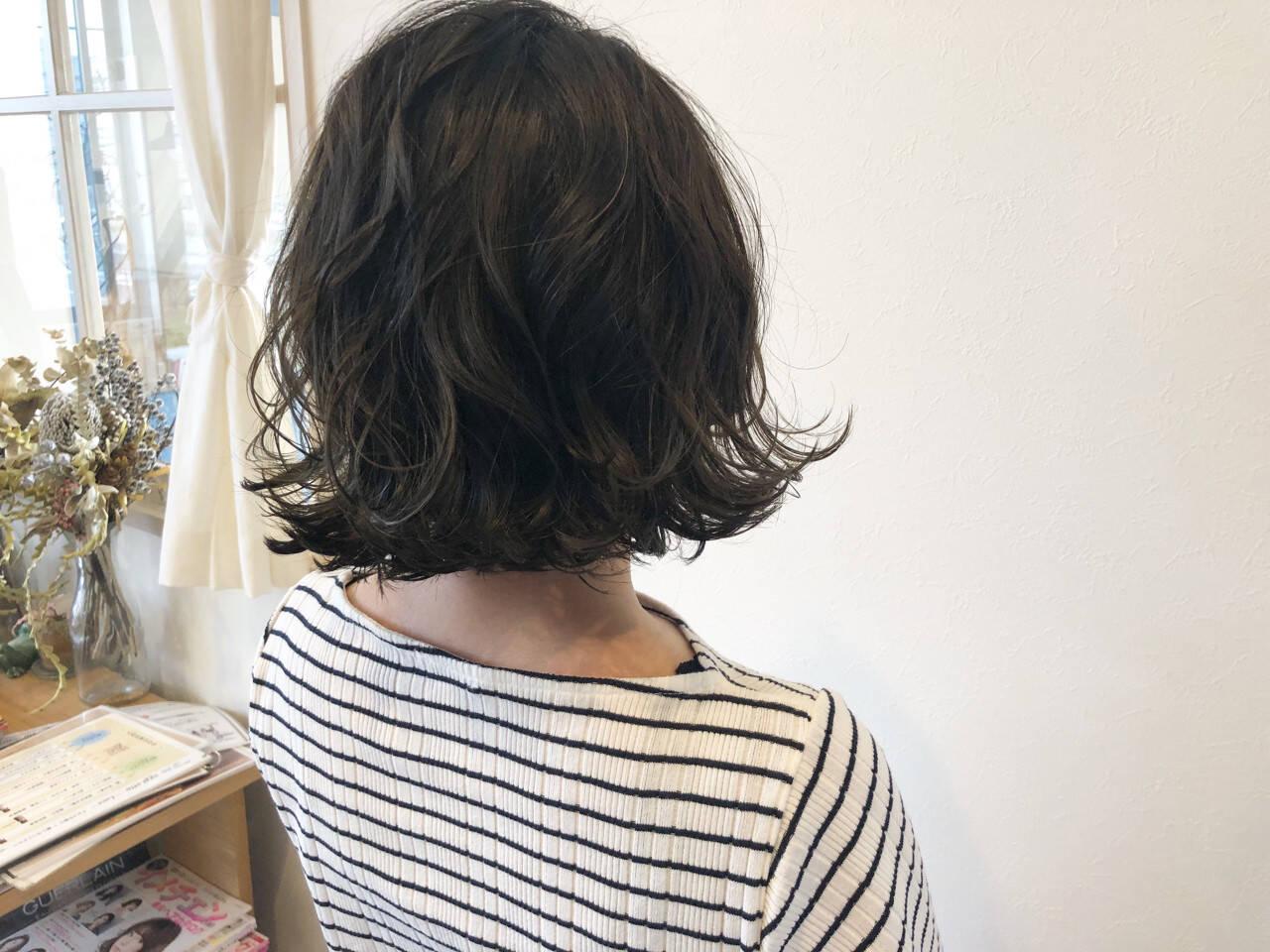 ロブ 外国人風 ミディアム 色気ヘアスタイルや髪型の写真・画像