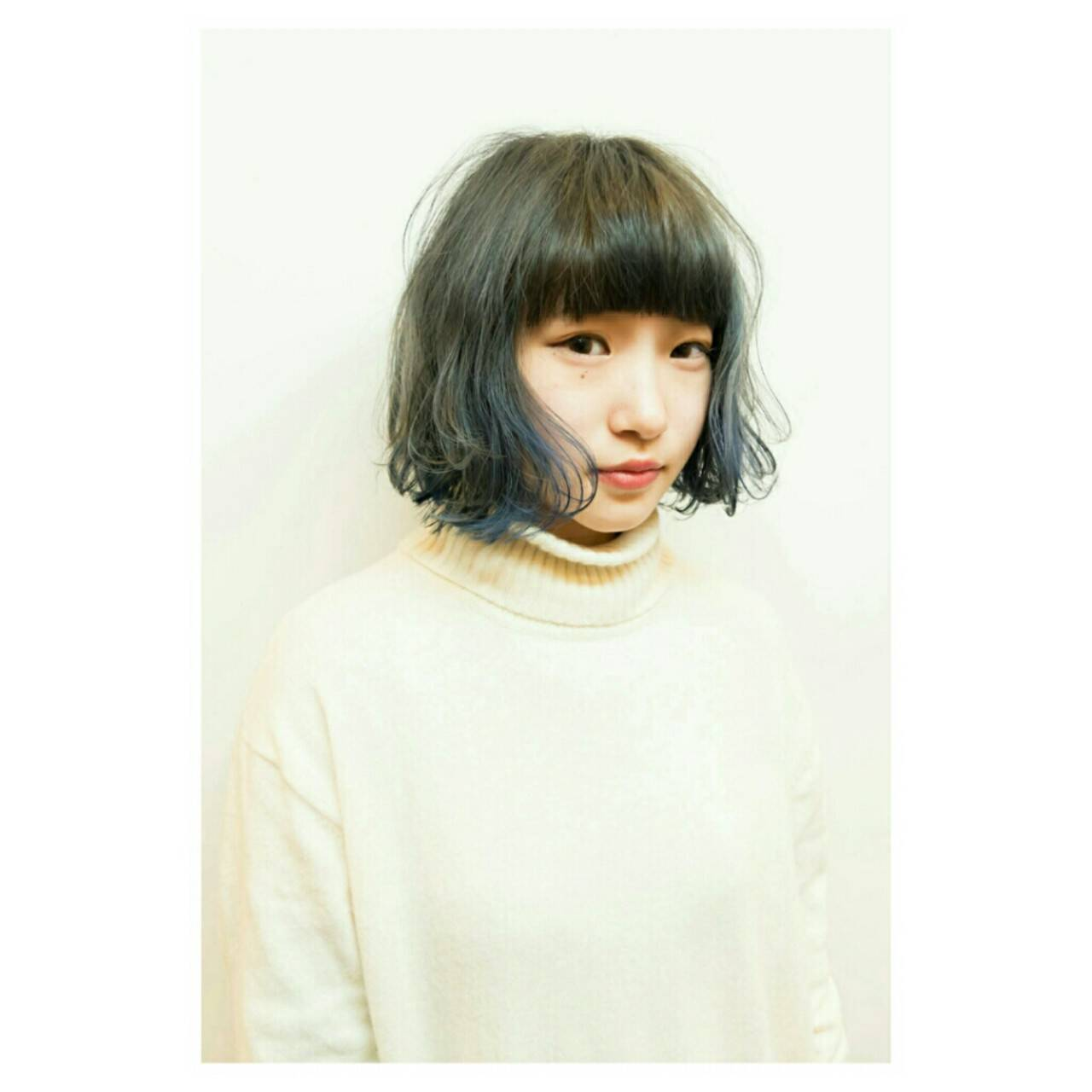 モード ブルージュ イルミナカラー ボブヘアスタイルや髪型の写真・画像