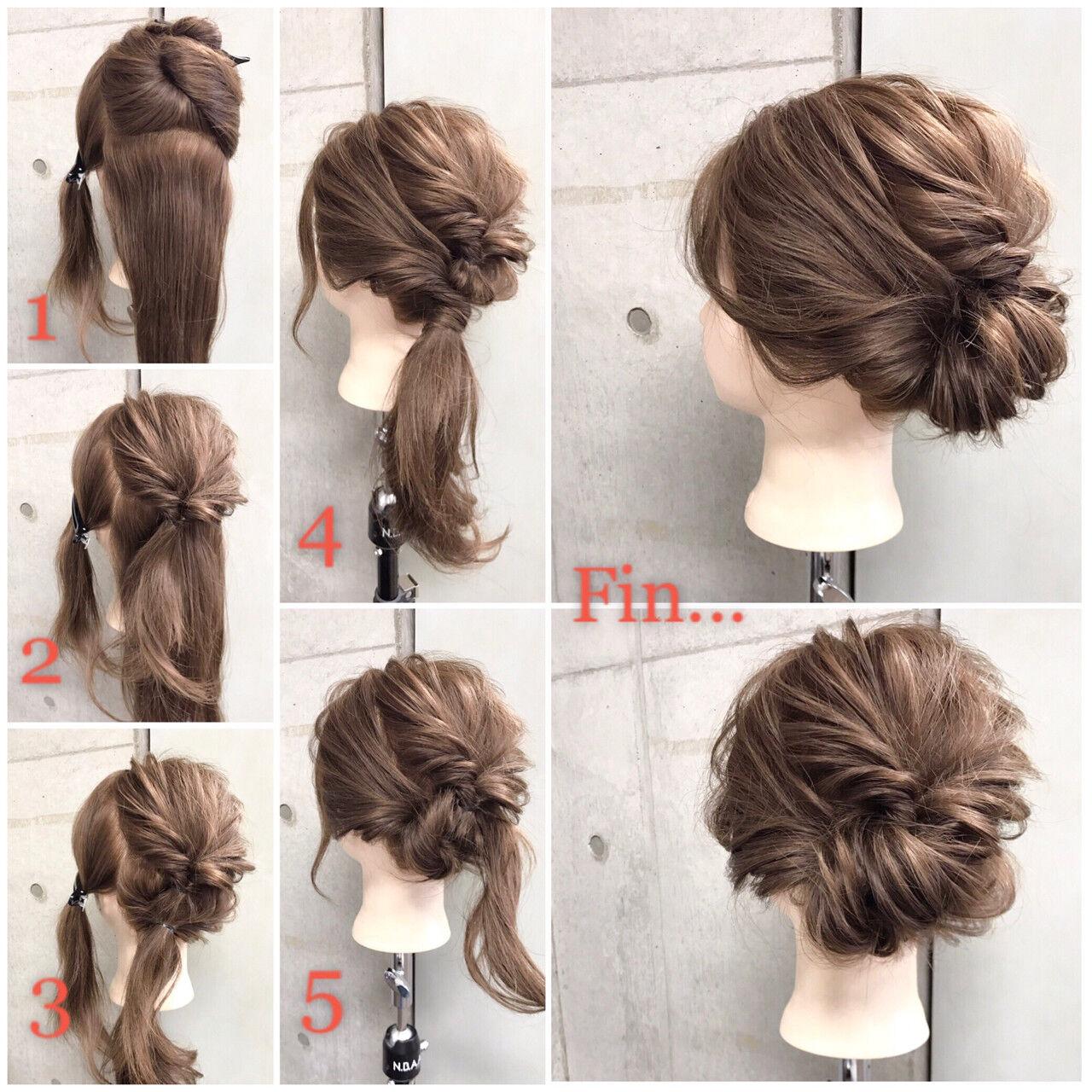 ヘアアレンジ セミロング フェミニン ナチュラルヘアスタイルや髪型の写真・画像