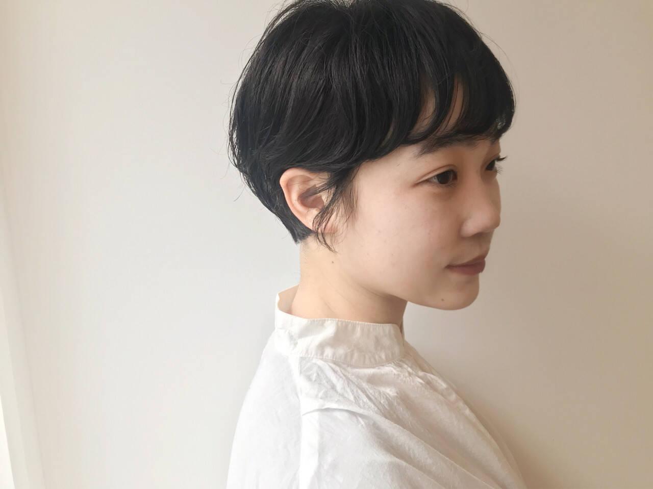 黒髪 パーマ ショート ショートボブヘアスタイルや髪型の写真・画像