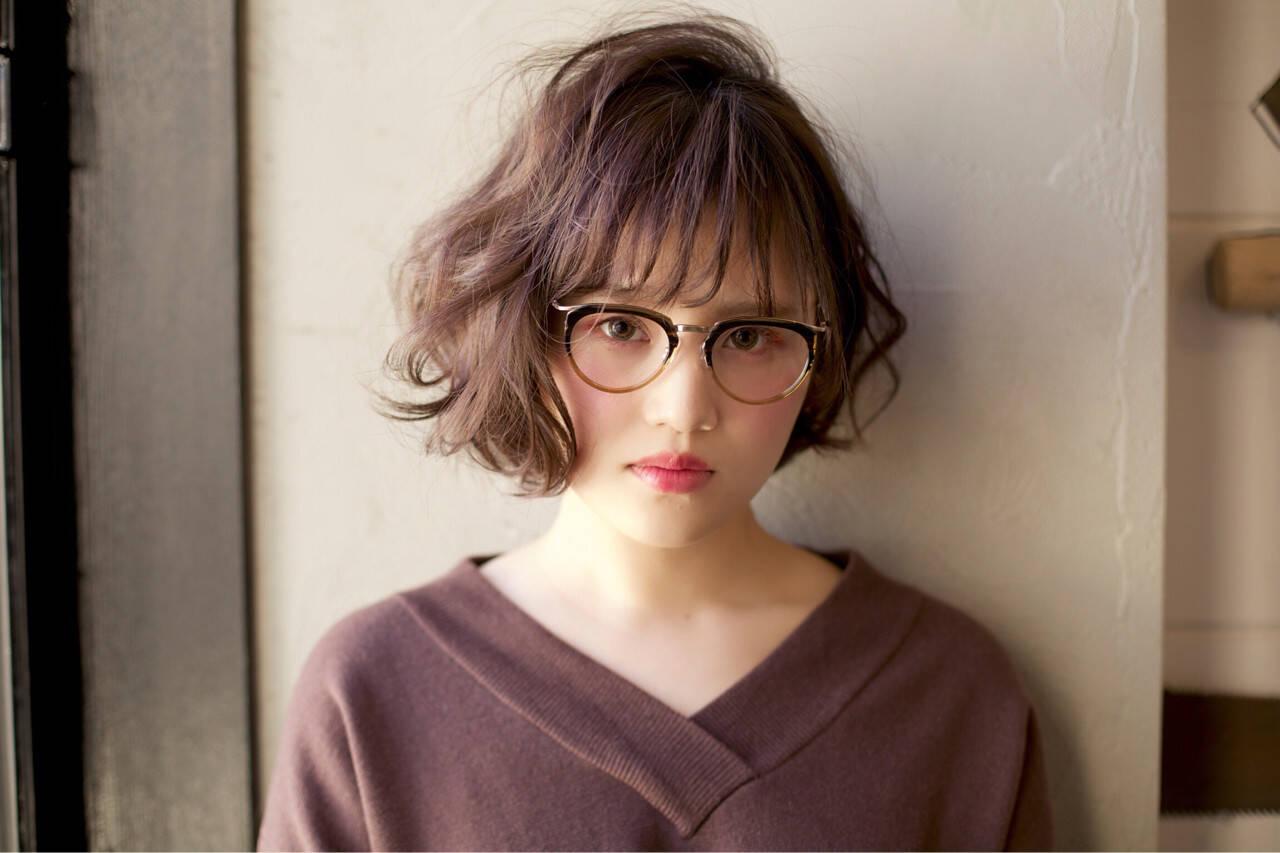 丸顔 ゆるふわ パーマ 簡単ヘアスタイルや髪型の写真・画像