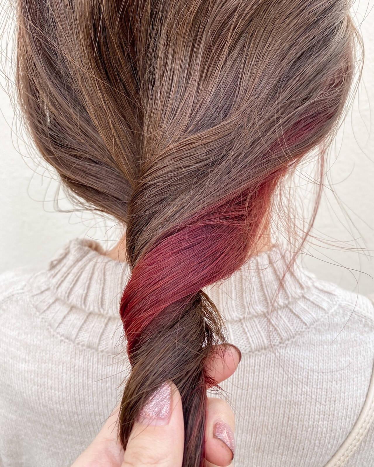 インナーカラー インナーカラー赤 ナチュラル インナーカラーレッドヘアスタイルや髪型の写真・画像