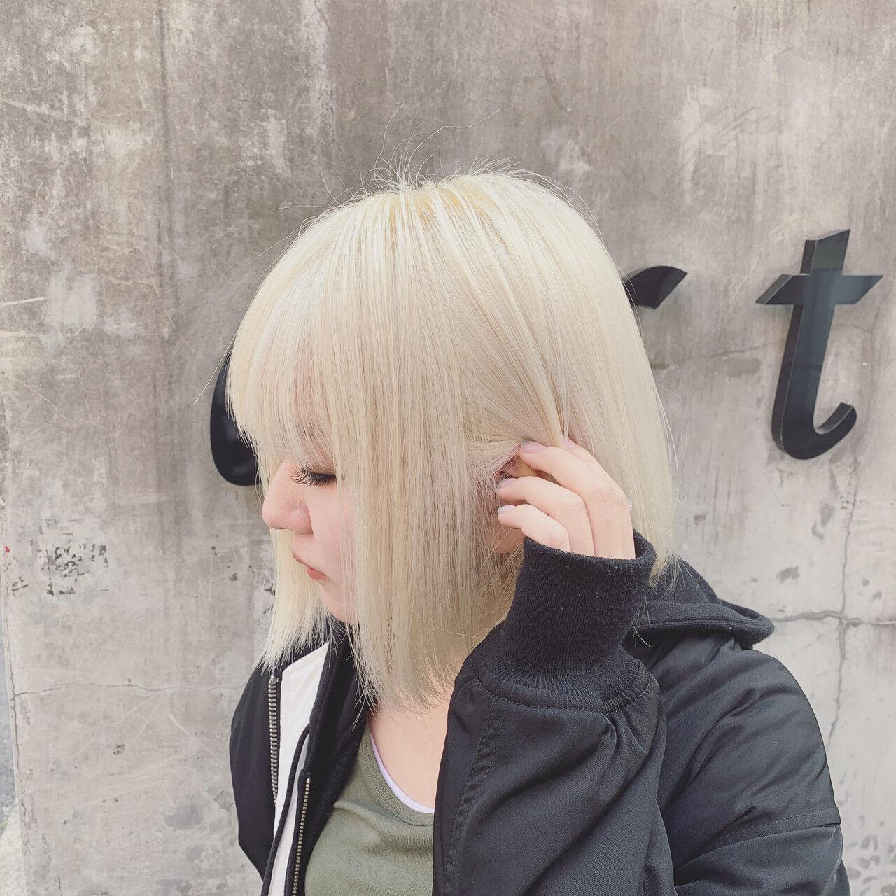 モード バレイヤージュ ハイトーン ボブヘアスタイルや髪型の写真・画像