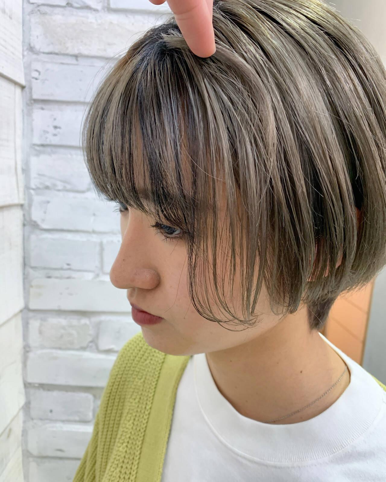 インナーカラー ベリーショート ショート ミニボブヘアスタイルや髪型の写真・画像